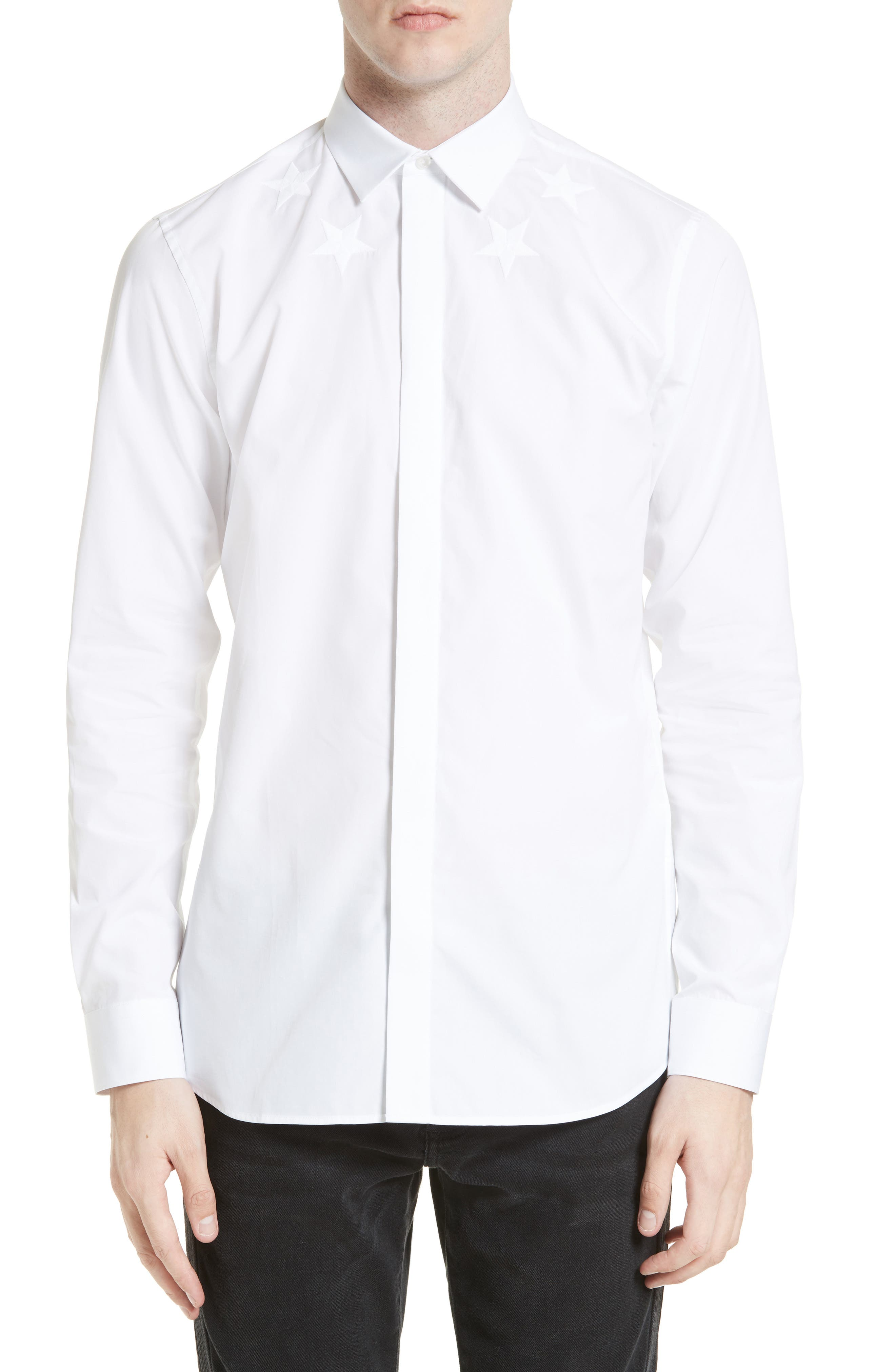 Tonal Star Embroidered Sport Shirt,                         Main,                         color, White