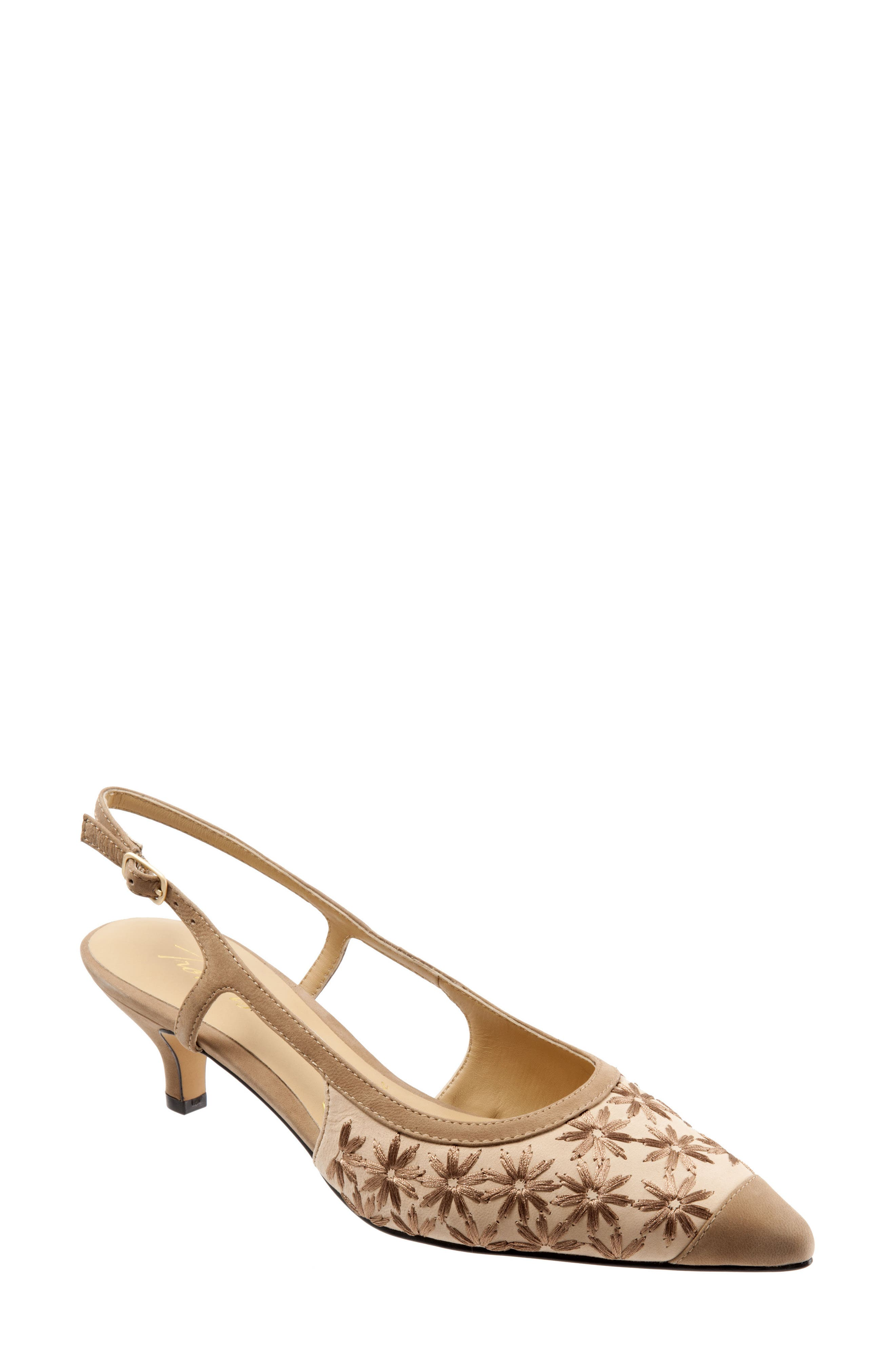 'Kimberly' Woven Leather Slingback Pump,                             Main thumbnail 1, color,                             Dark Tan/ Sand/ Bronze Leather