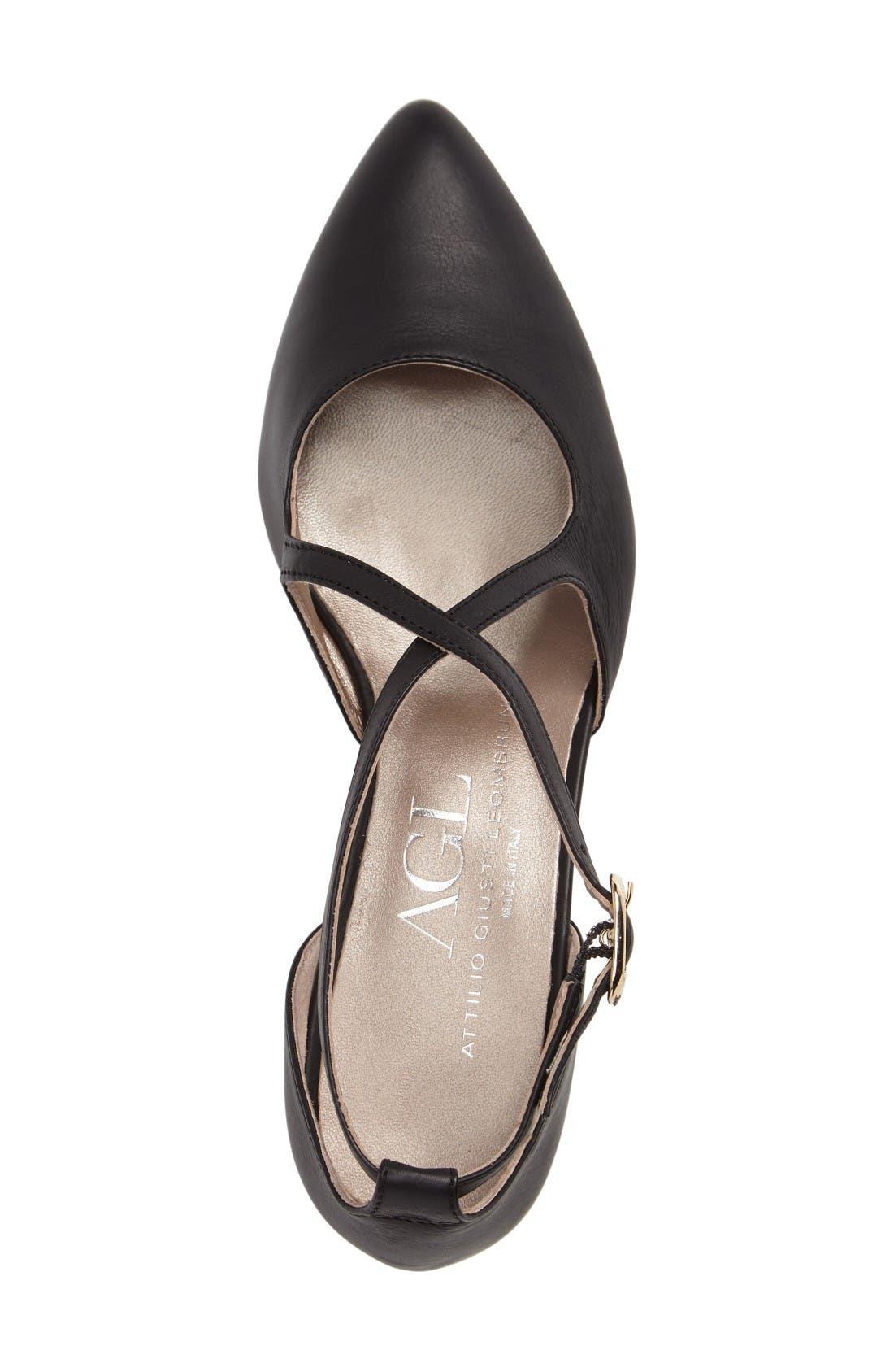 Split Heel d'Orsay Pump,                             Alternate thumbnail 3, color,                             Black Leather