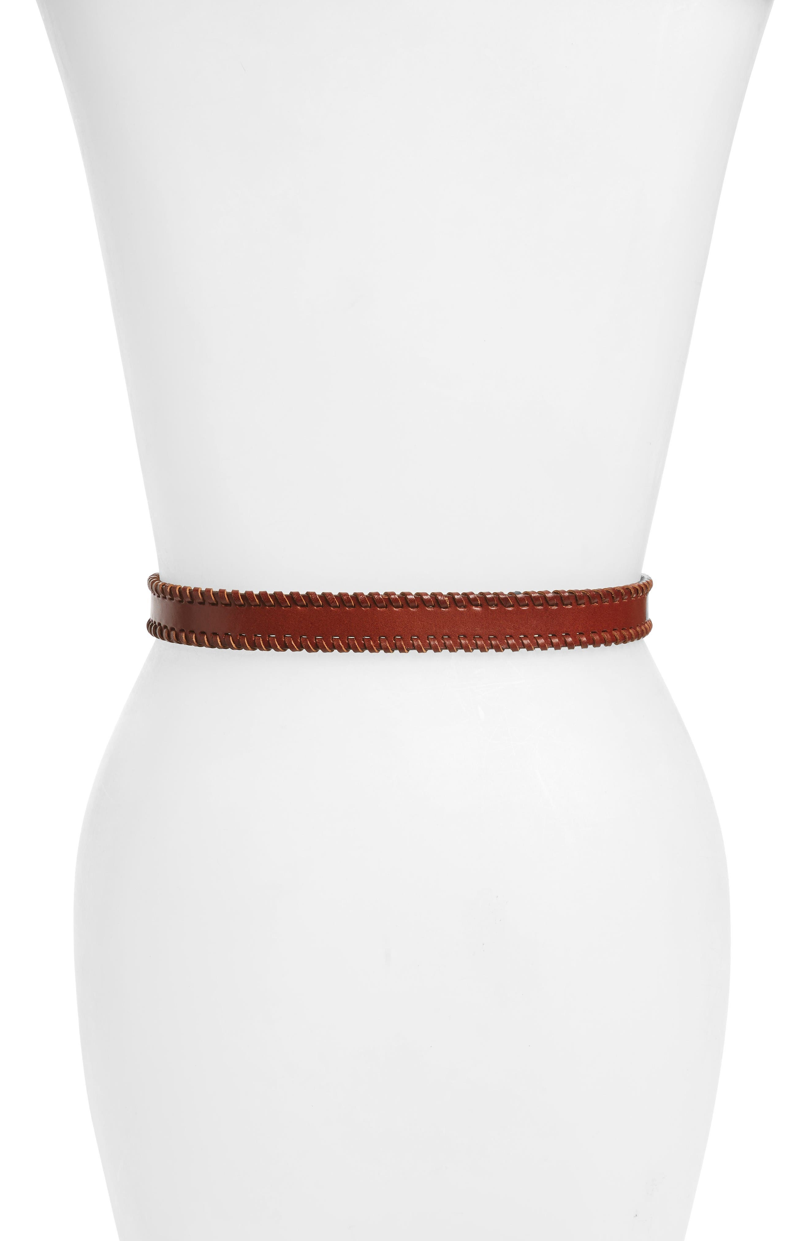 Whipstitched Western Leather Belt,                             Alternate thumbnail 2, color,                             Luggage