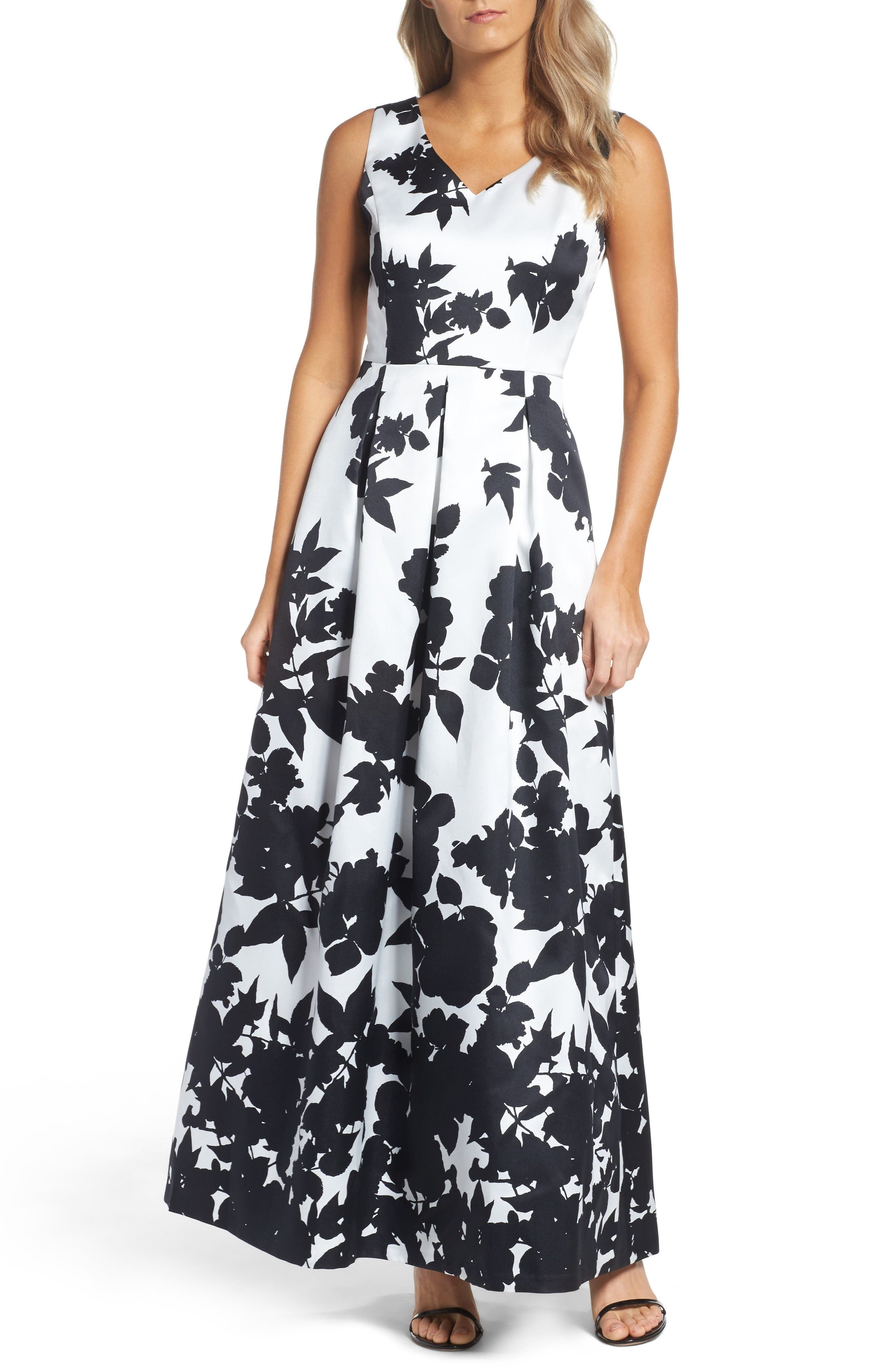 Floral Print Faille Gown,                         Main,                         color, Black/ Ivory