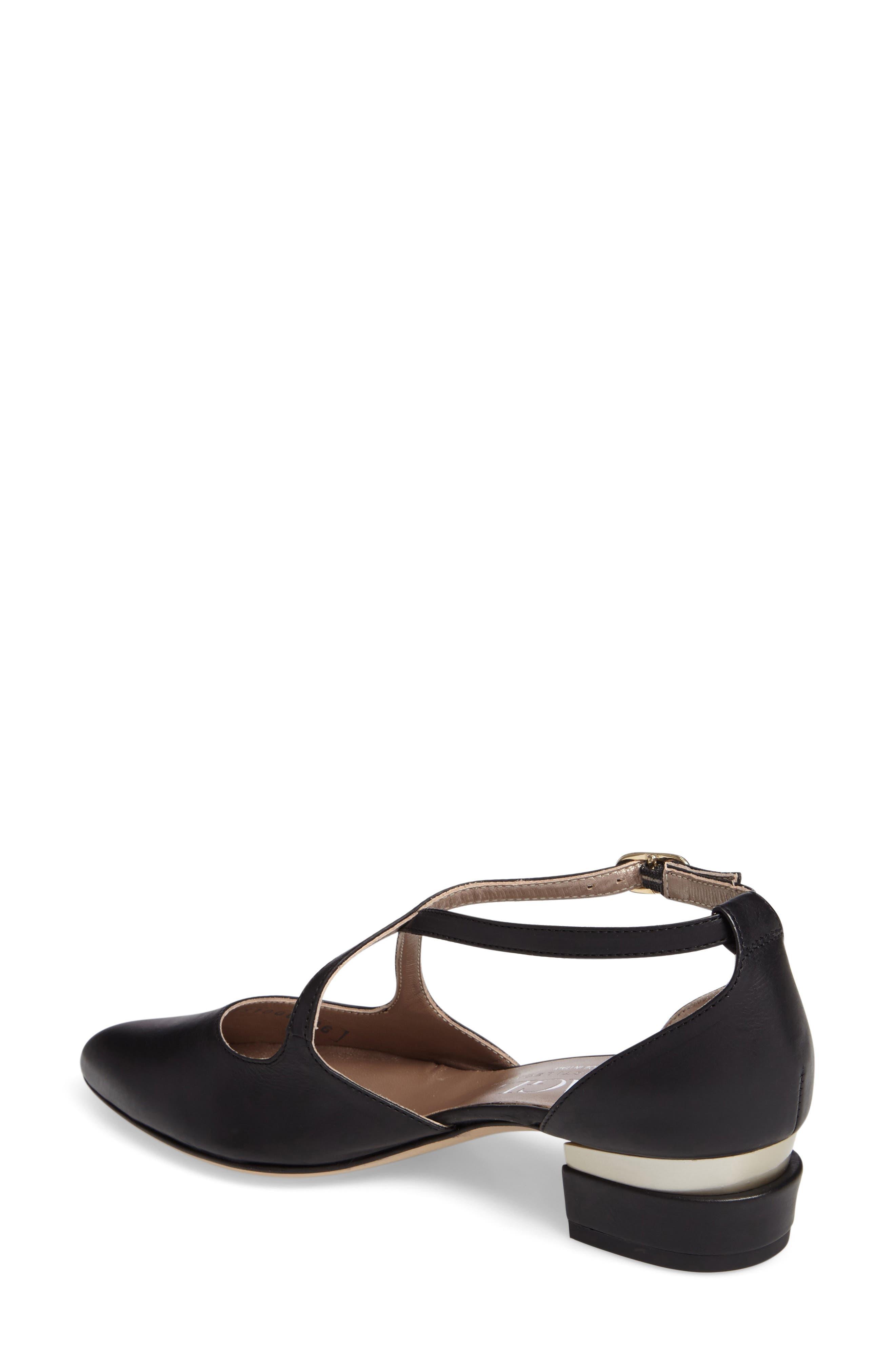 Split Heel d'Orsay Pump,                             Alternate thumbnail 2, color,                             Black Leather