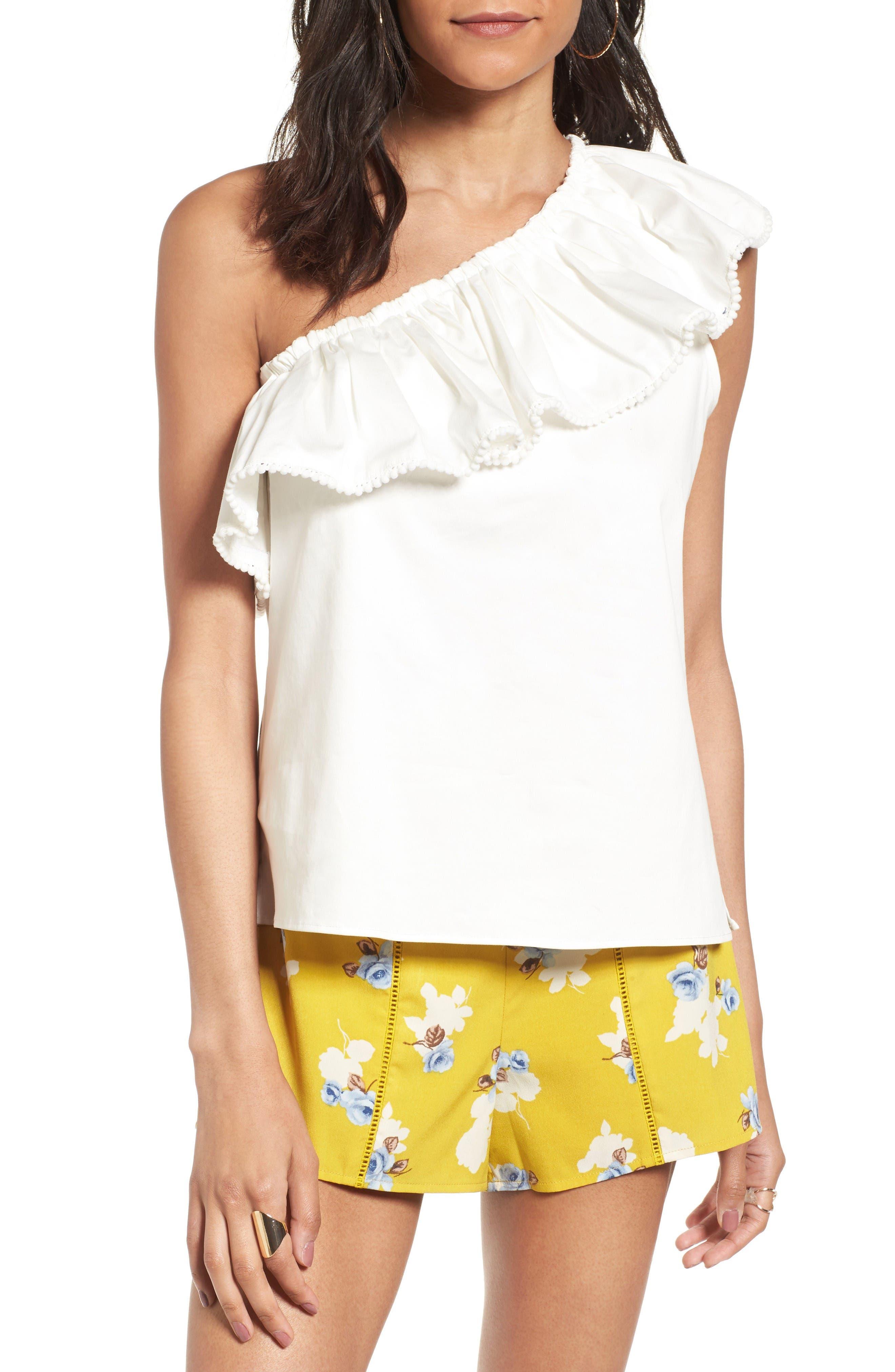 Vanessa One-Shoulder Blouse,                         Main,                         color, White