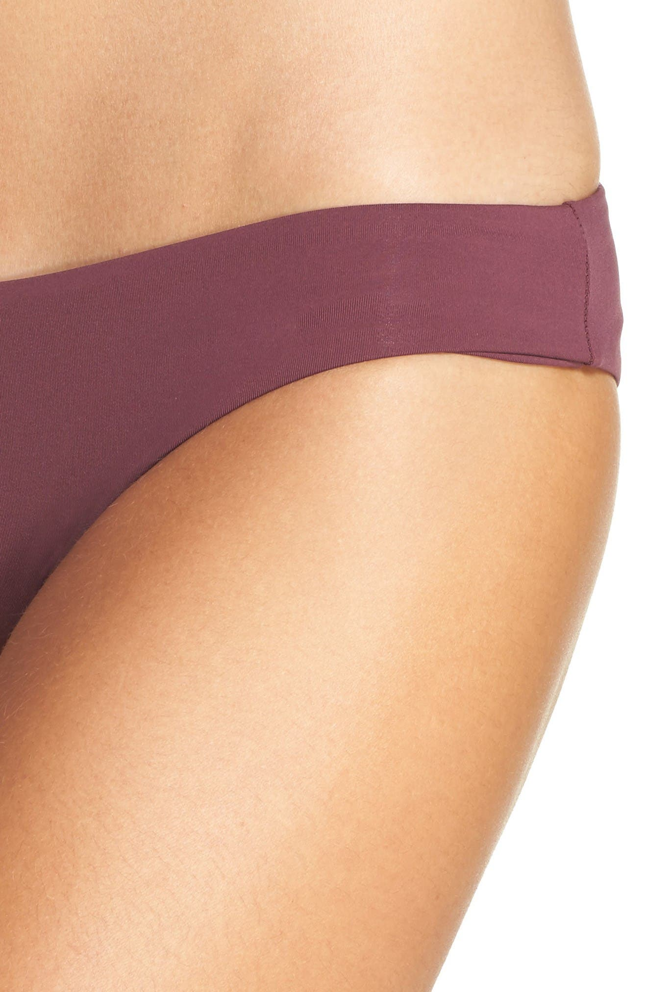 'Ali' Moderate Coverage Bikini Bottoms,                             Alternate thumbnail 3, color,                             Merlot