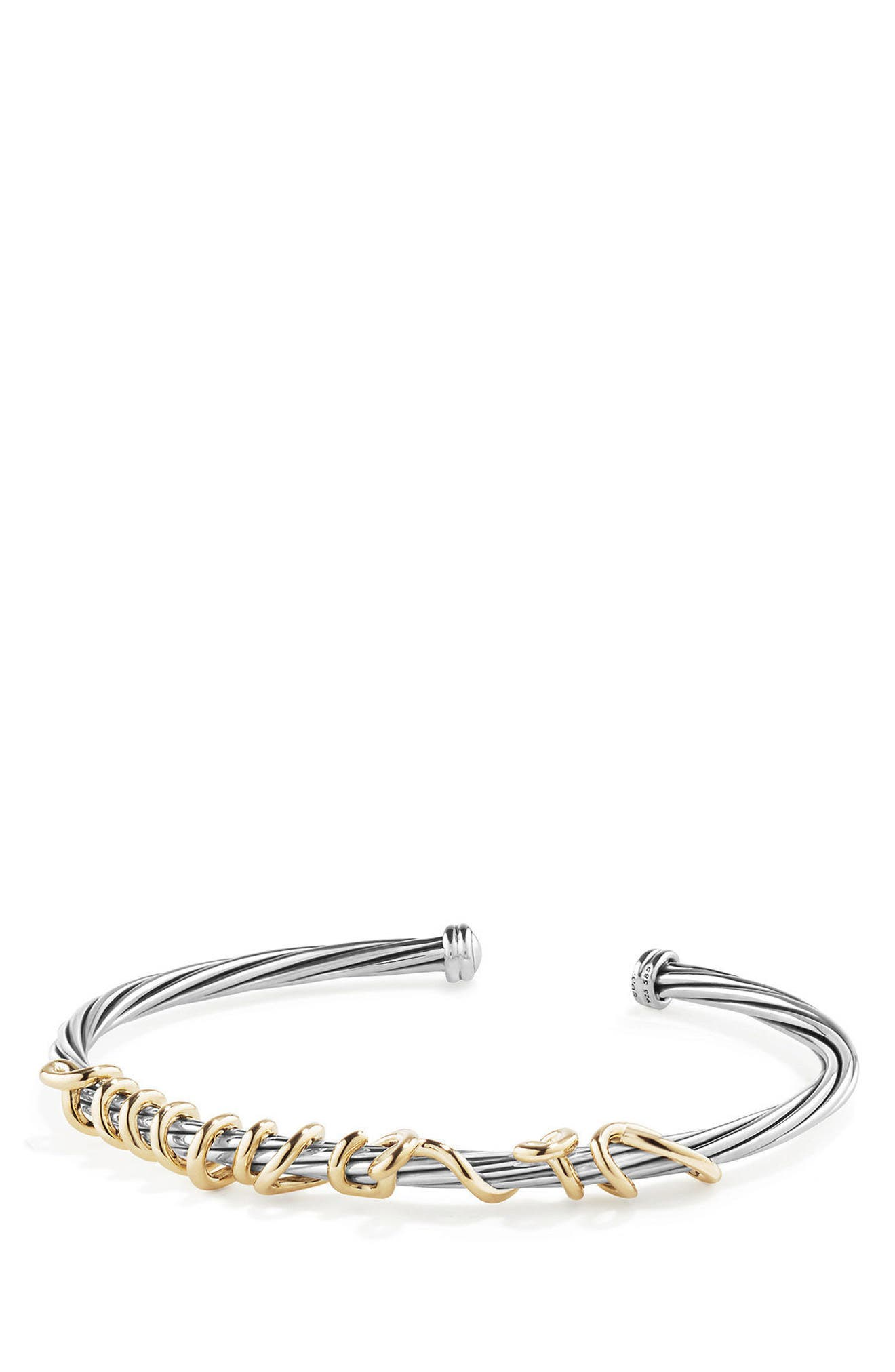 DY Whispers Je T'aime Bracelet with 14k Gold,                             Main thumbnail 1, color,                             Silver/ Gold