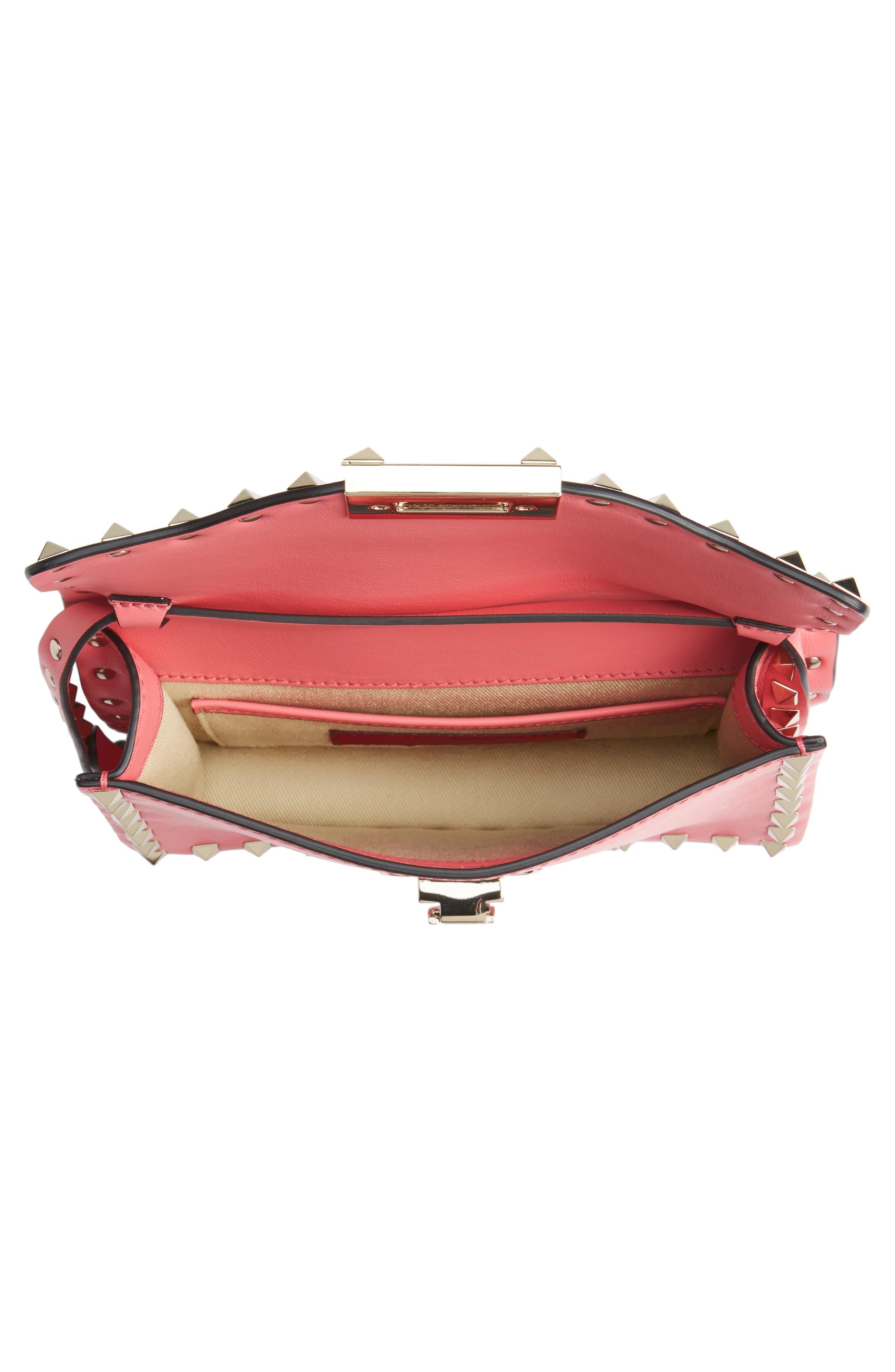 Rockstud Leather Crossbody Bag,                             Alternate thumbnail 3, color,                             Antique Rose