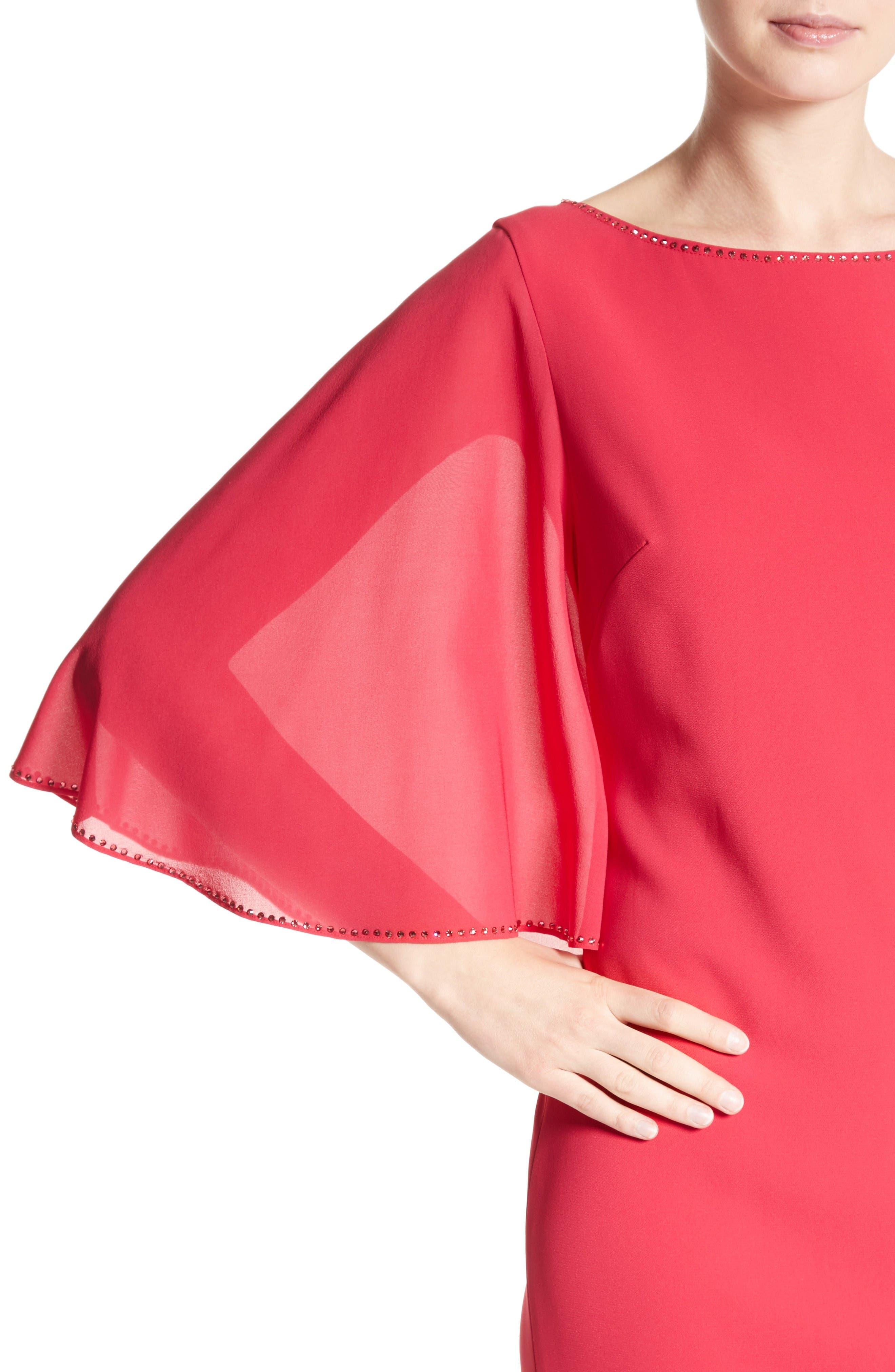 Alternate Image 5  - St. John Evening Embellished Stretch Cady Cape Back Gown