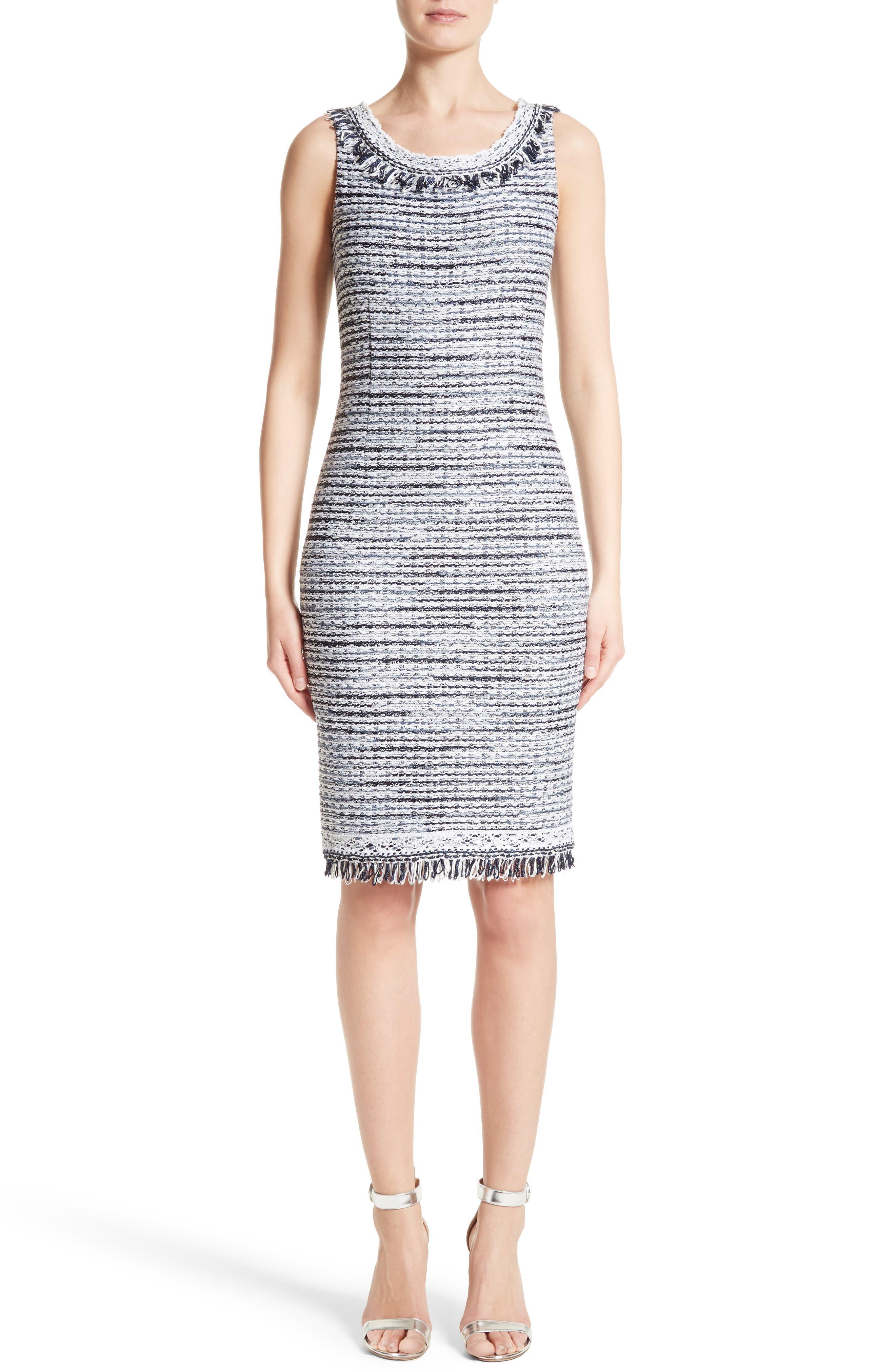 S. John Collection Tanya Knit Pencil Dress,                         Main,                         color, Bianco/ Navy Multi