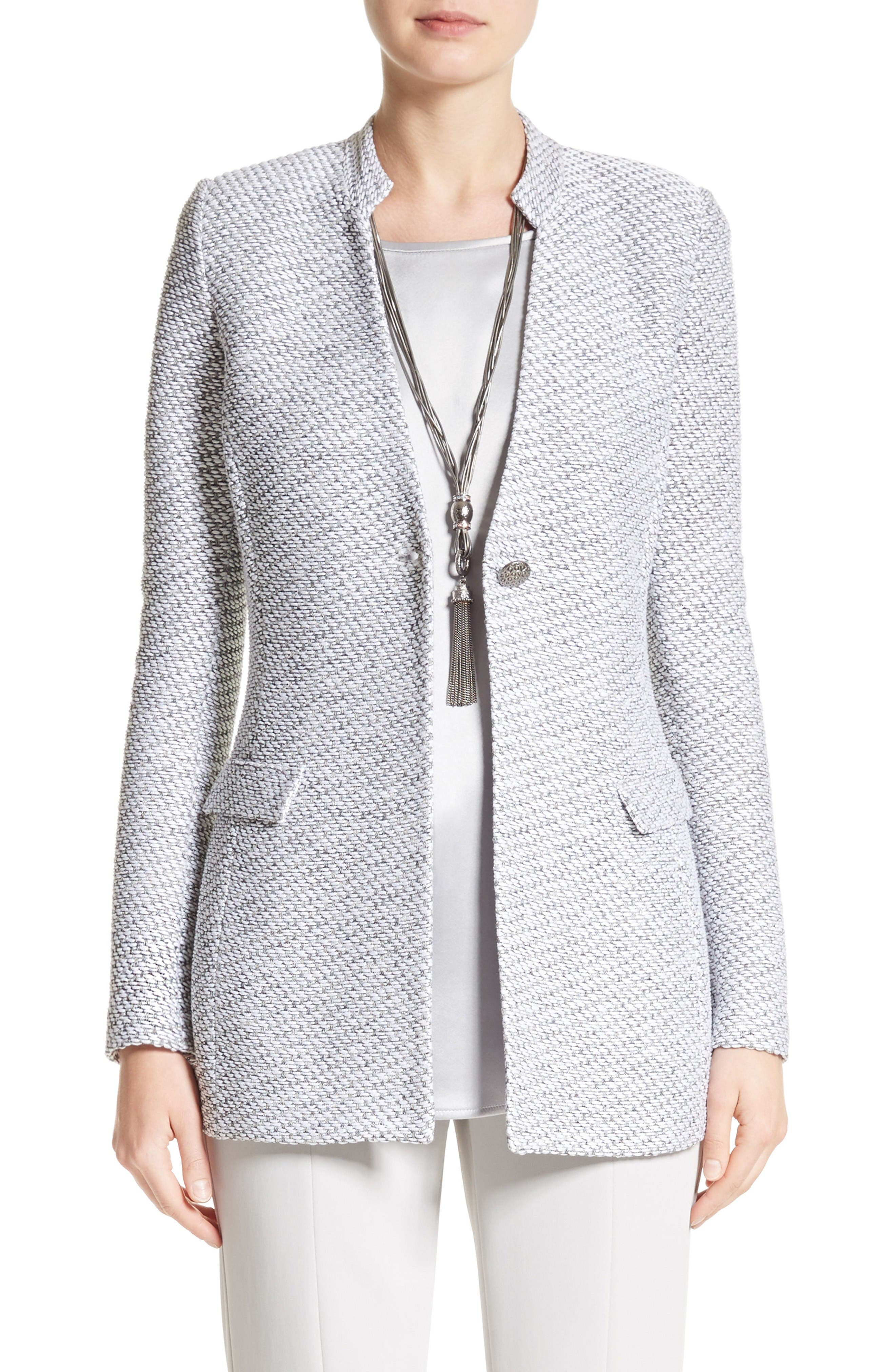 Gyan Knit Jacket,                         Main,                         color, Bianco/ Mica Multi