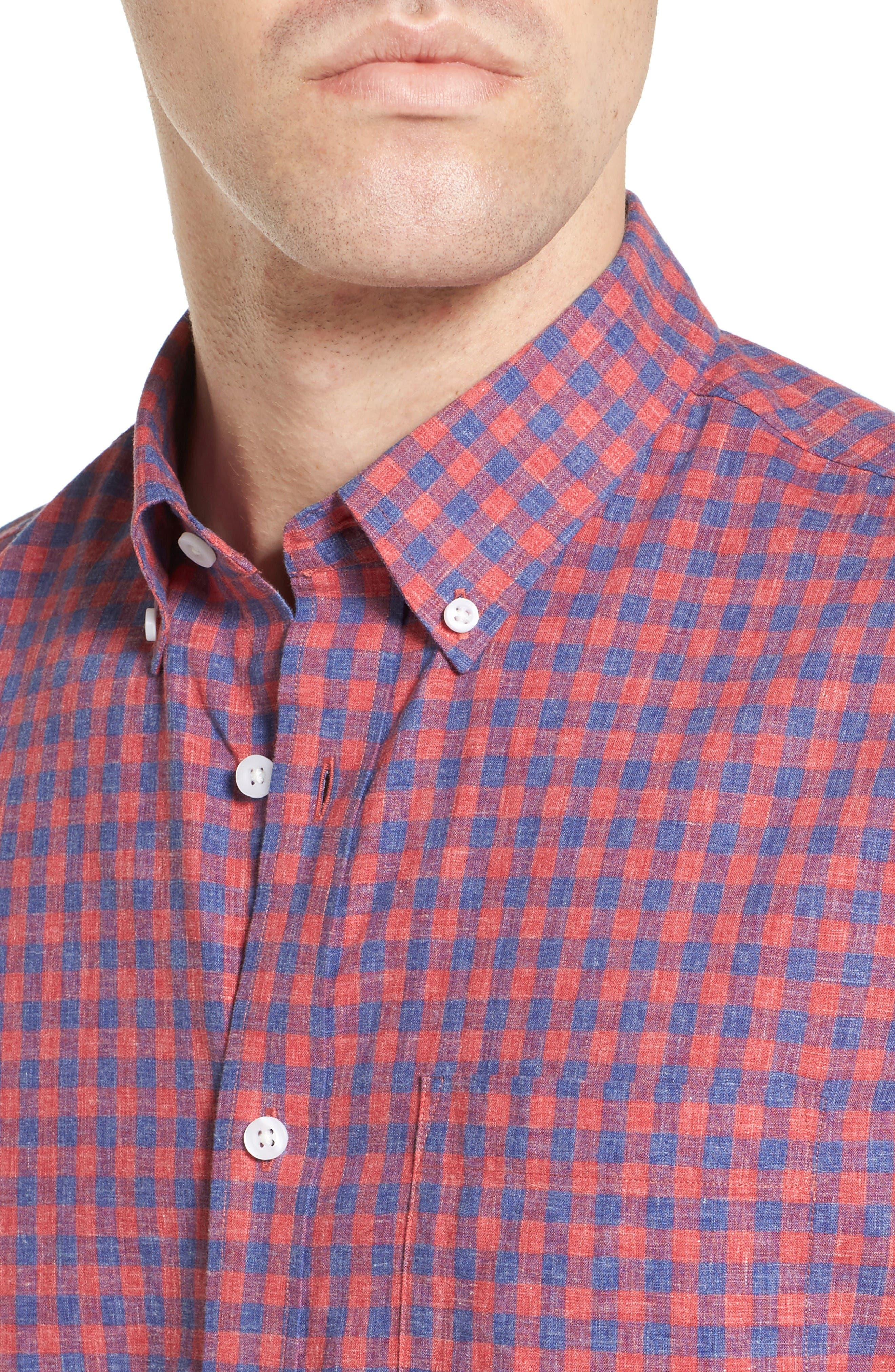 Slim Fit Gingham Check Sport Shirt,                             Alternate thumbnail 4, color,                             Red Chateaux Gingham