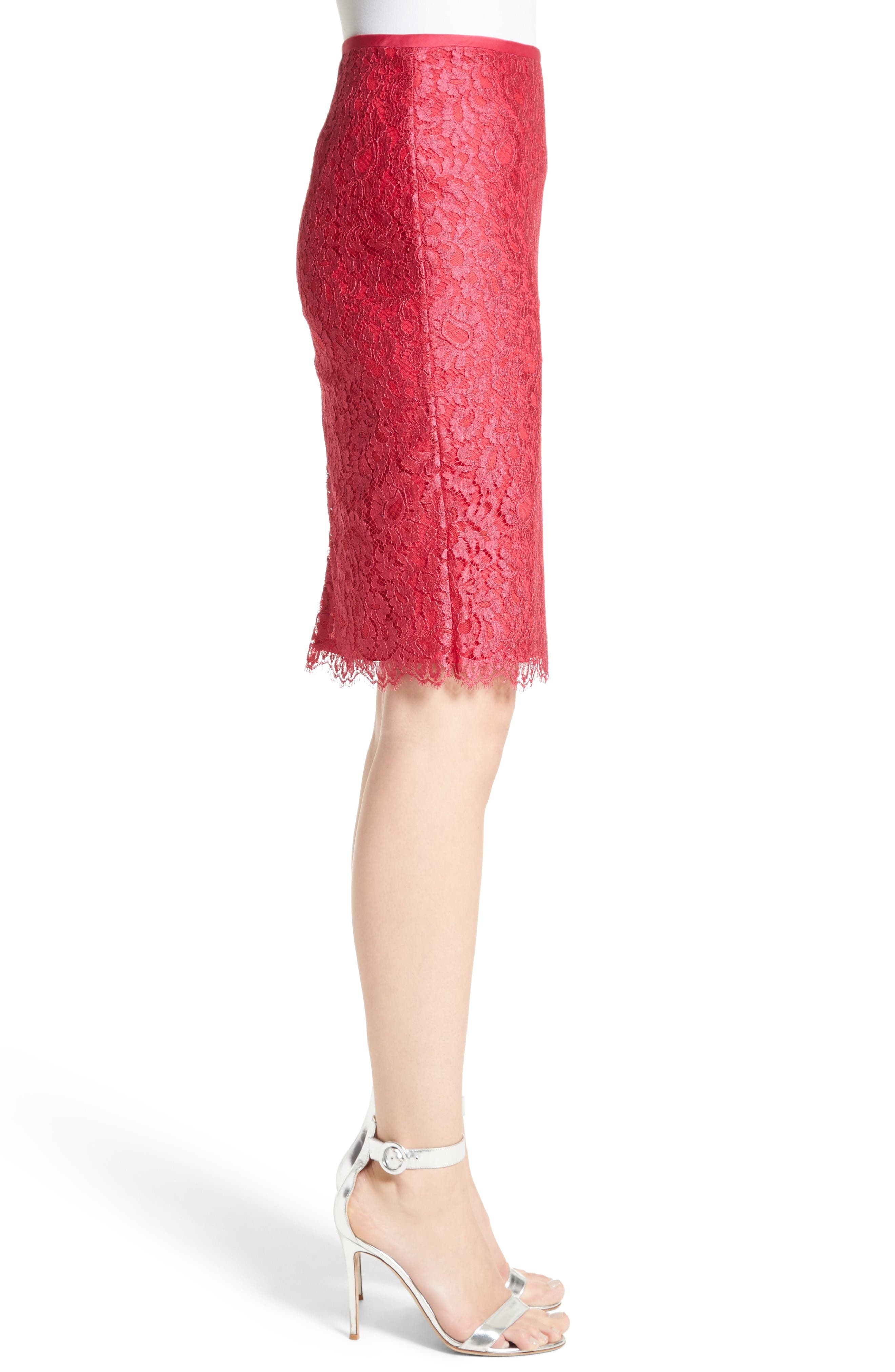 Alternate Image 3  - St. John Collection Double Scallop Paisley Lace Skirt