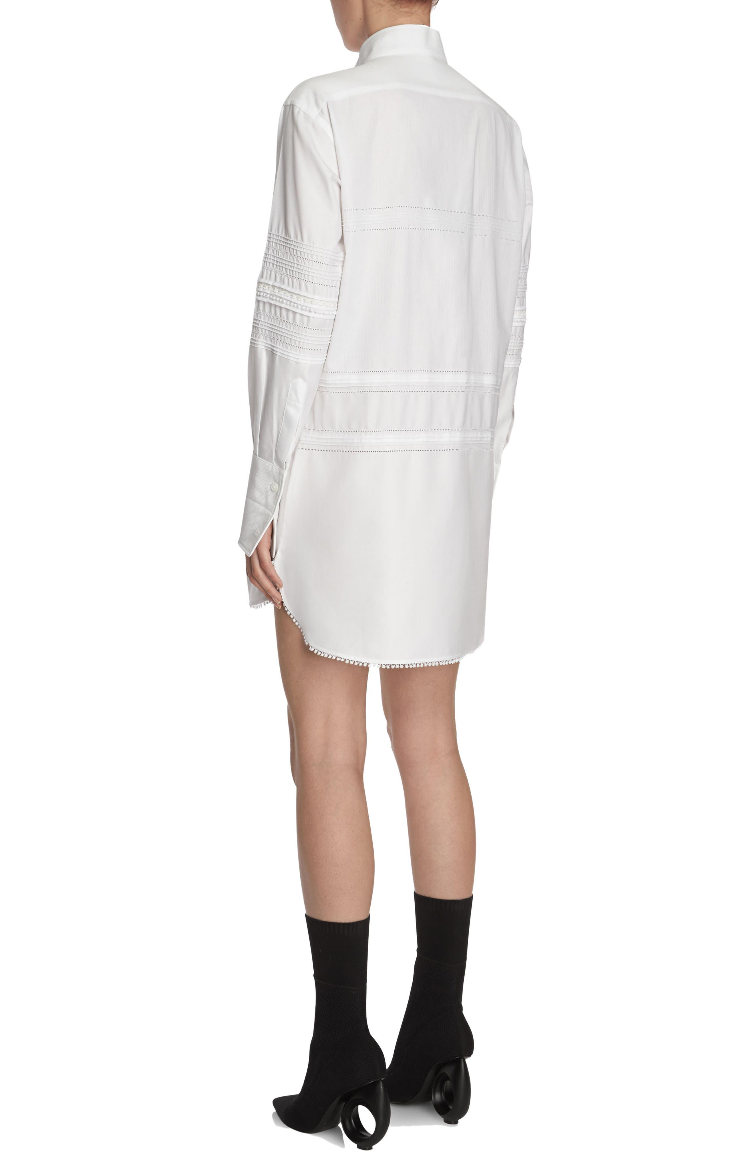 Pintuck Cotton Shirtdress,                             Alternate thumbnail 4, color,                             White