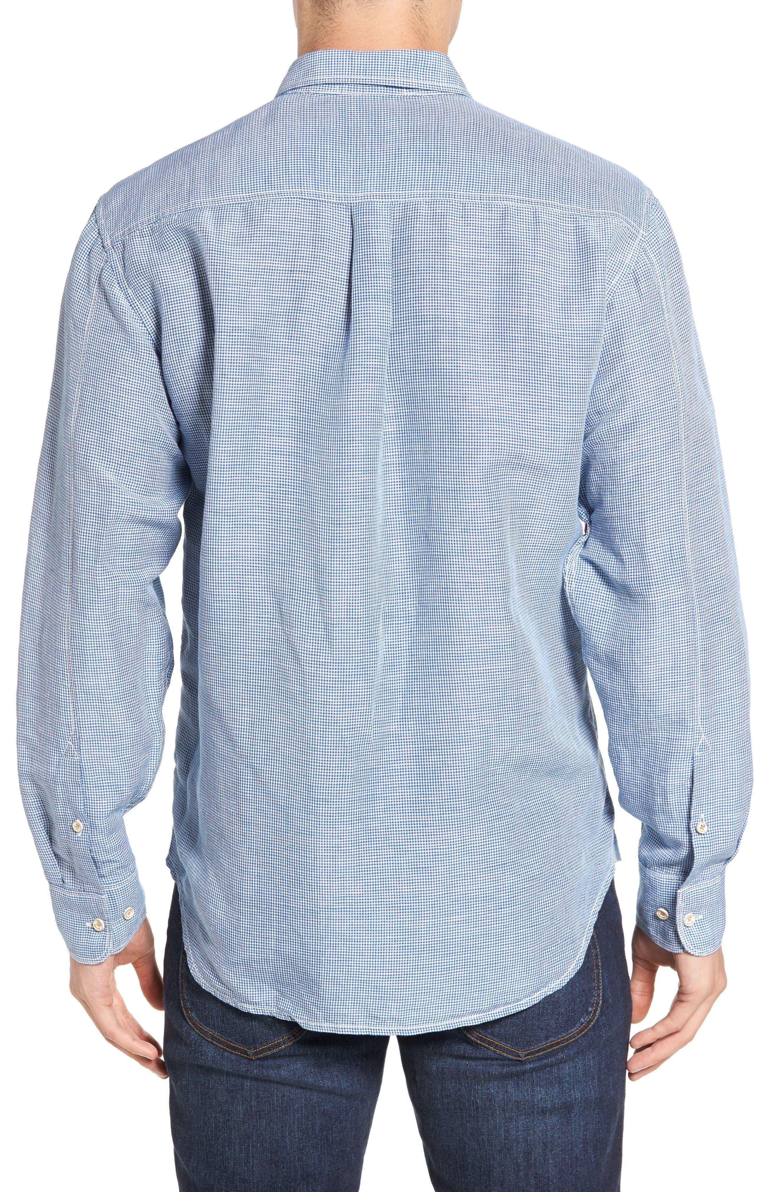 Sand Linen Island Modern Fit Sport Shirt,                             Alternate thumbnail 2, color,                             Bering Blue
