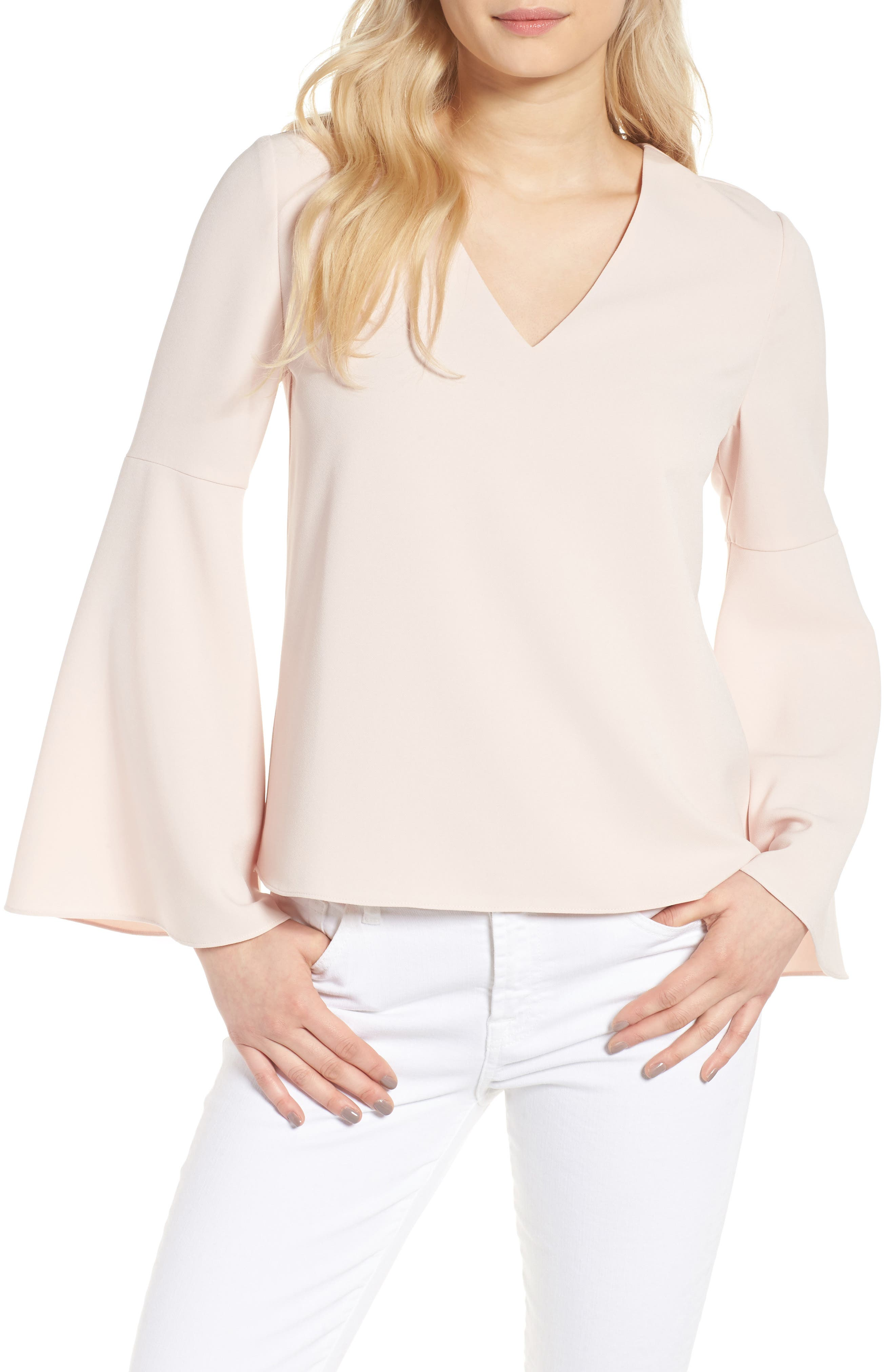 Marcela Bell Sleeve Top,                         Main,                         color, Pale Pink