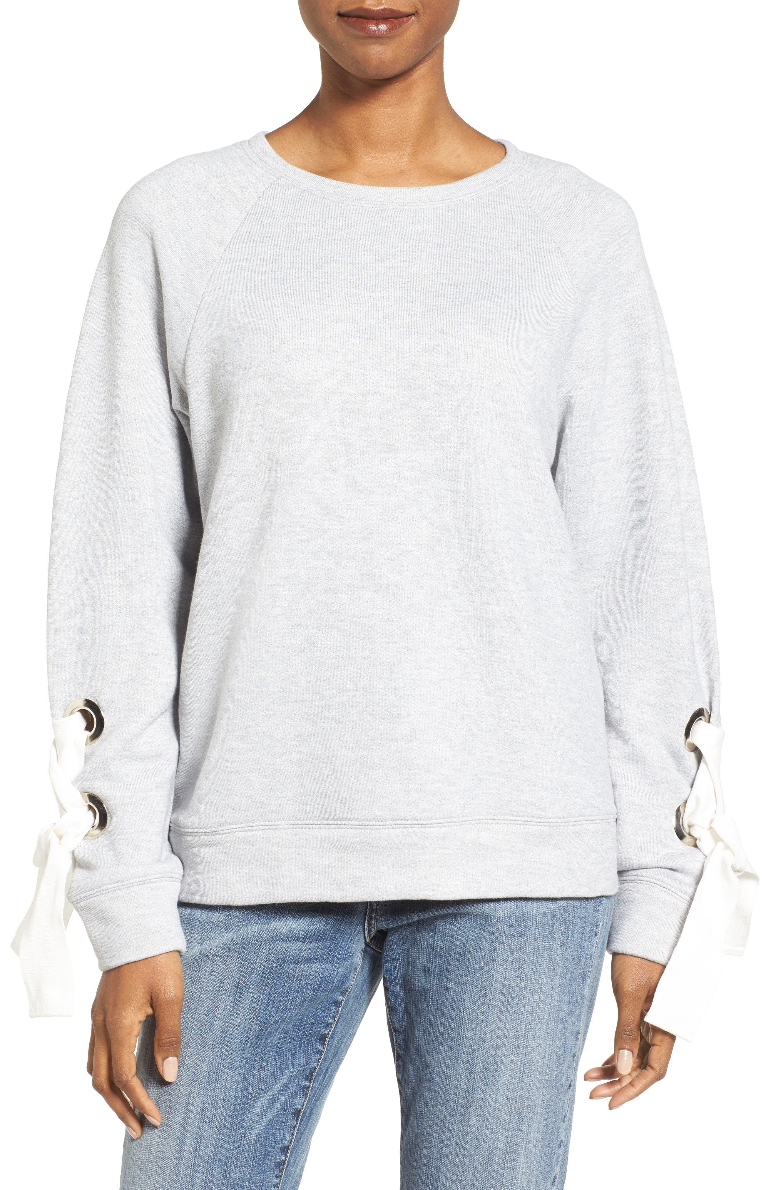 Main Image - Halogen® Tie Sleeve Sweatshirt (Regular & Petite)