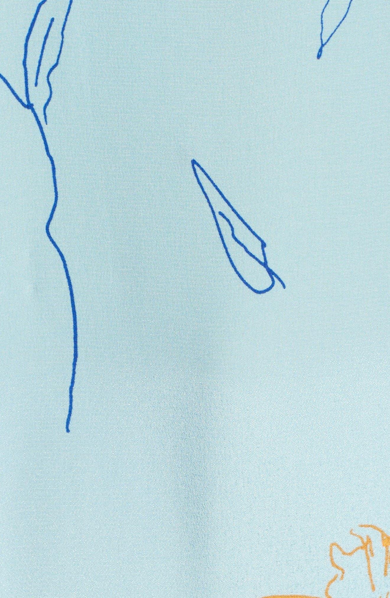 Flutter Sleeve Print Silk Maxi Dress,                             Alternate thumbnail 5, color,                             Fenelon Bright Ice