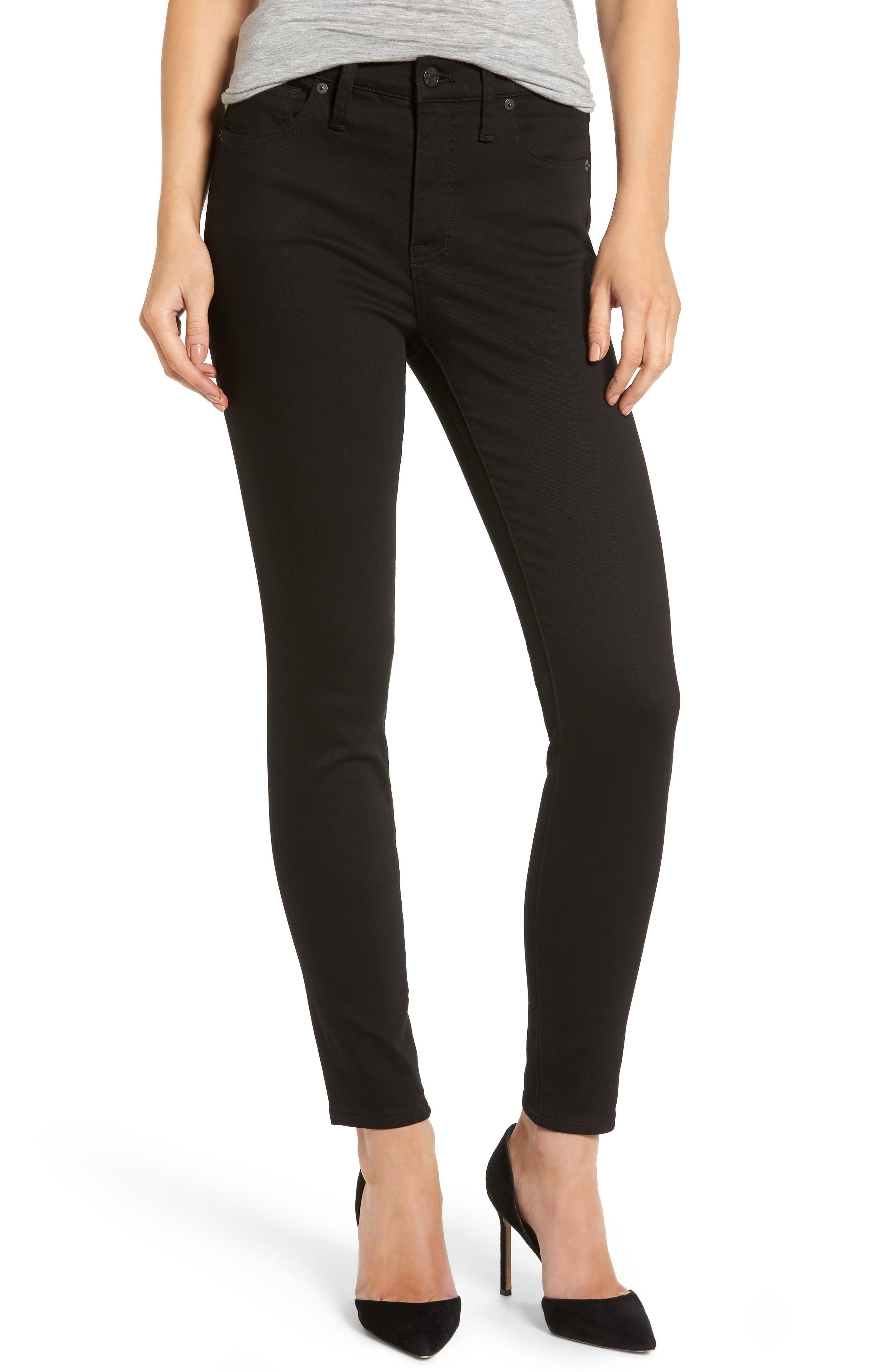Main Image - Madewell 9-Inch High-Rise Skinny Jeans (Isko Stay Black™)