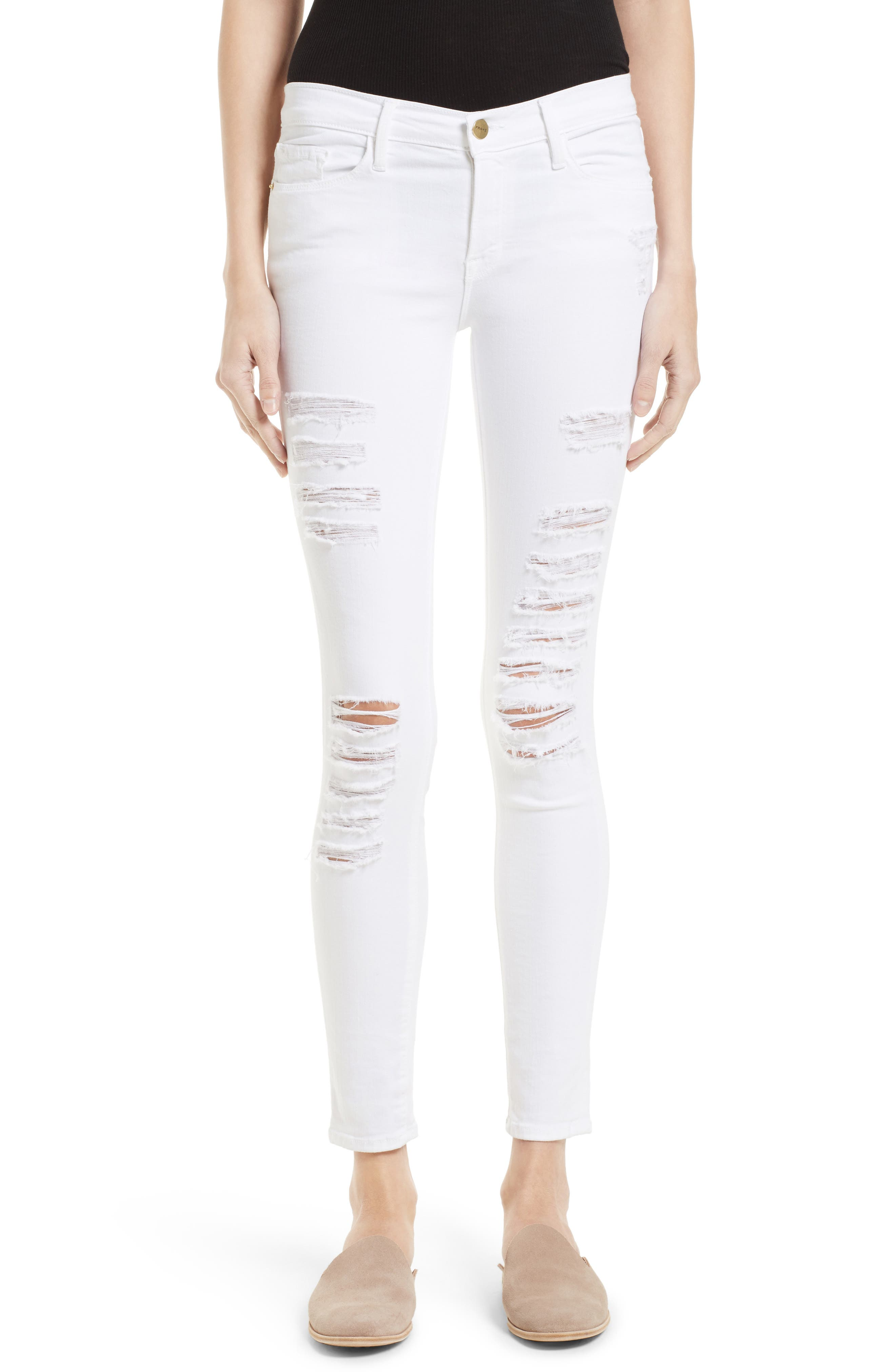 Le Color Rip Skinny Jeans,                         Main,                         color, Blanc