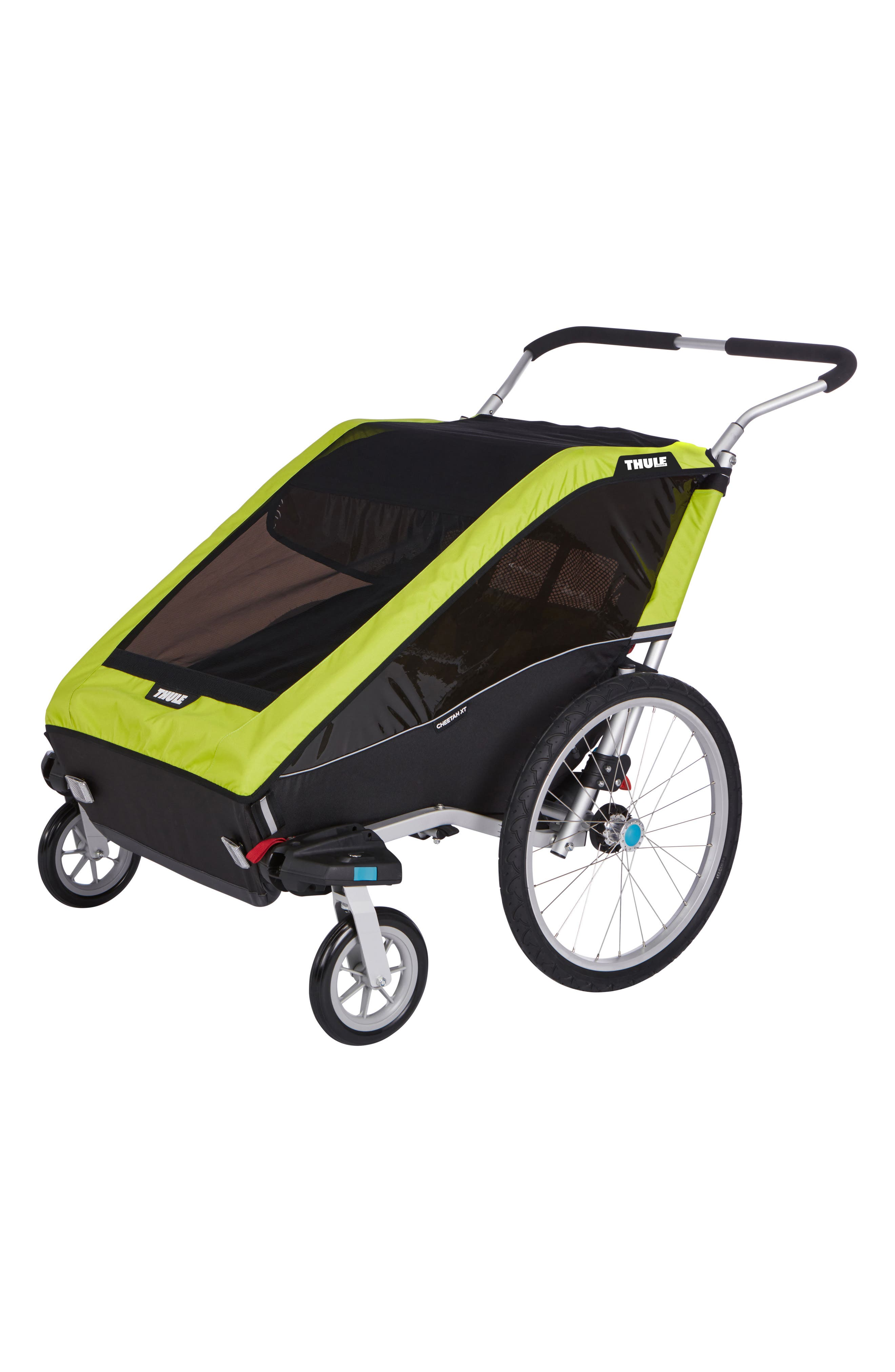 Chariot Cheetah XT 2 Multisport Double Cycle Trailer/Stroller,                         Main,                         color, Chartreuse