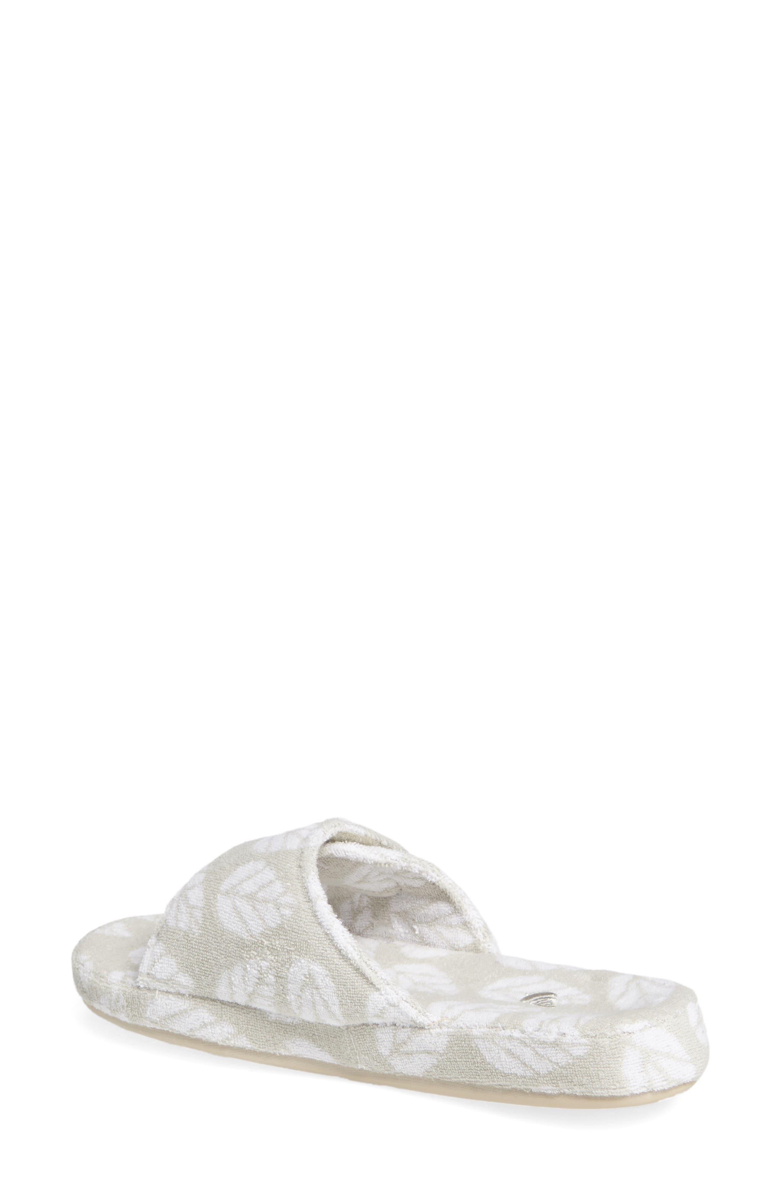 Summerweight Slide Spa Slipper,                             Alternate thumbnail 2, color,                             Grey Leaf Fabric