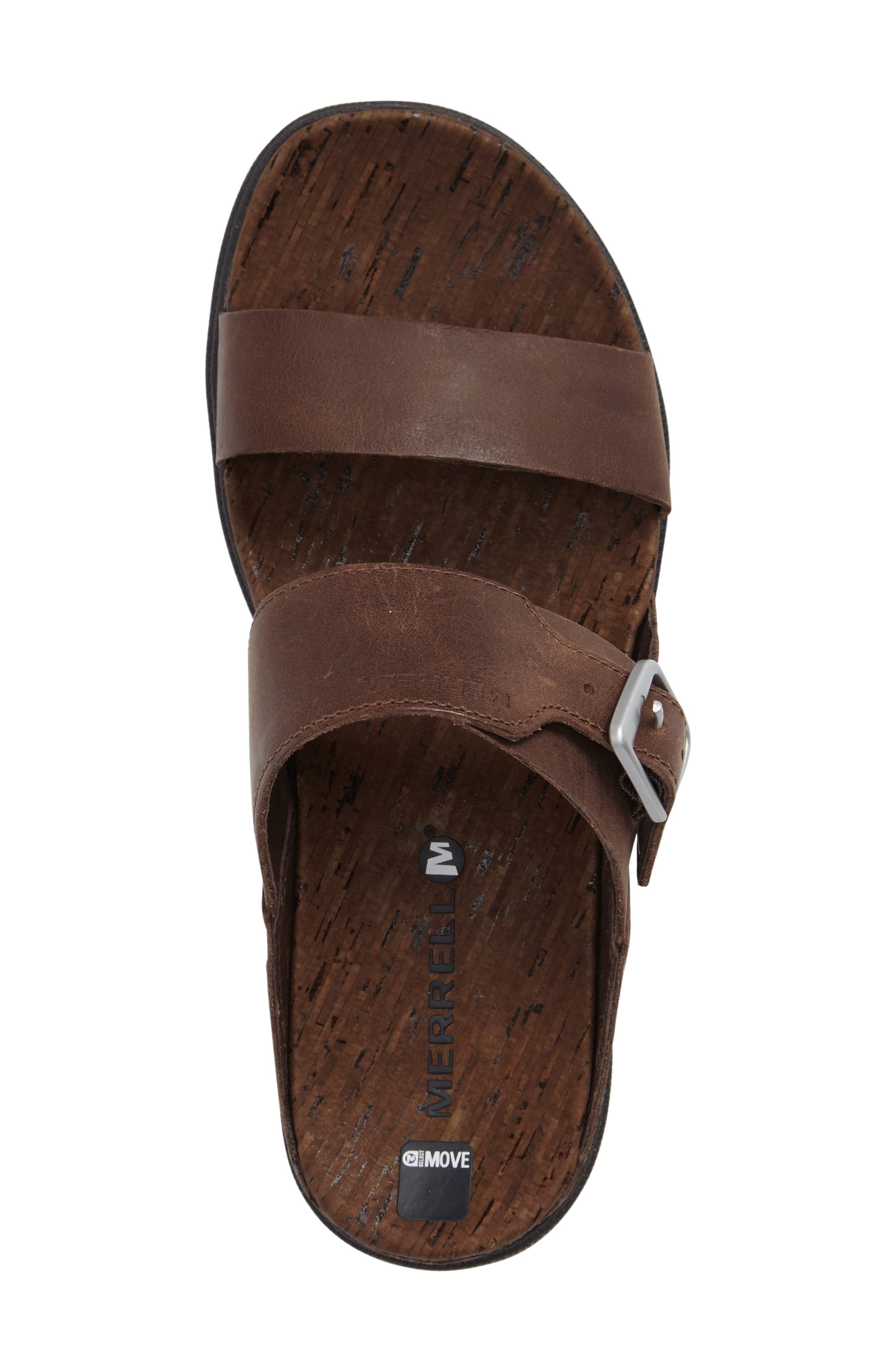 Around Town Slide Sandal,                             Alternate thumbnail 3, color,                             Brown Leather