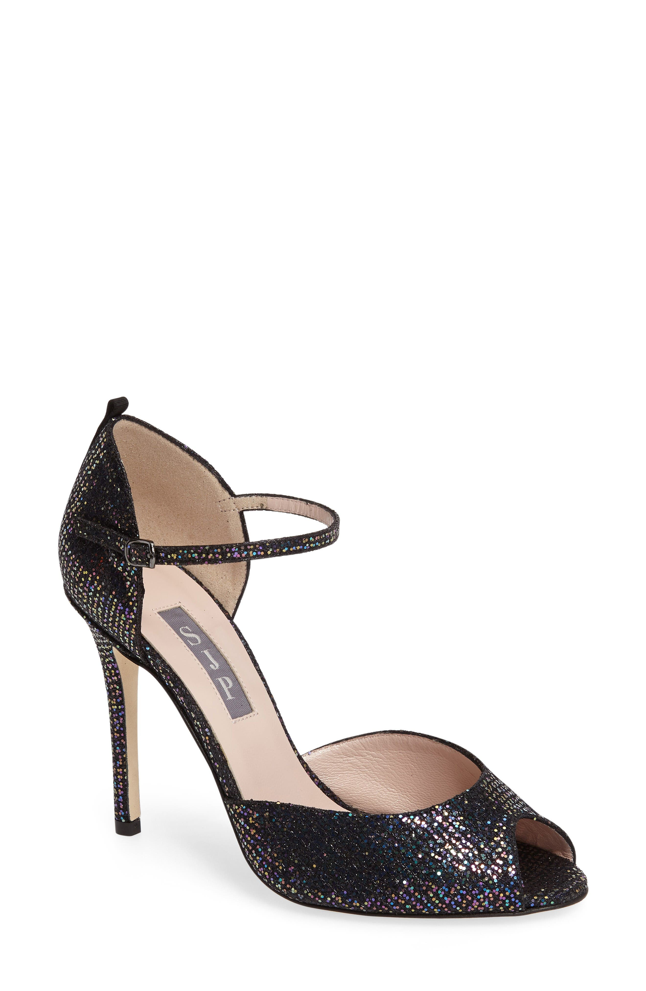 Main Image - SJP by Sarah Jessica Parker by Sarah Jessica Parker 'Ursula' Open Toe d'Orsay Metallic Leather Pump