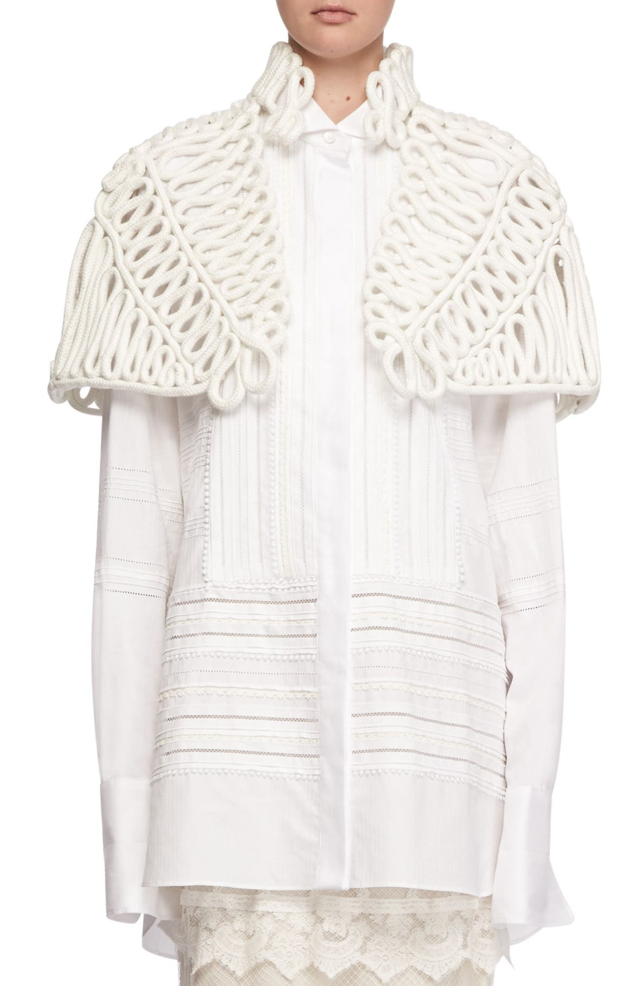 Hand Looped Rope Cape,                             Main thumbnail 1, color,                             White