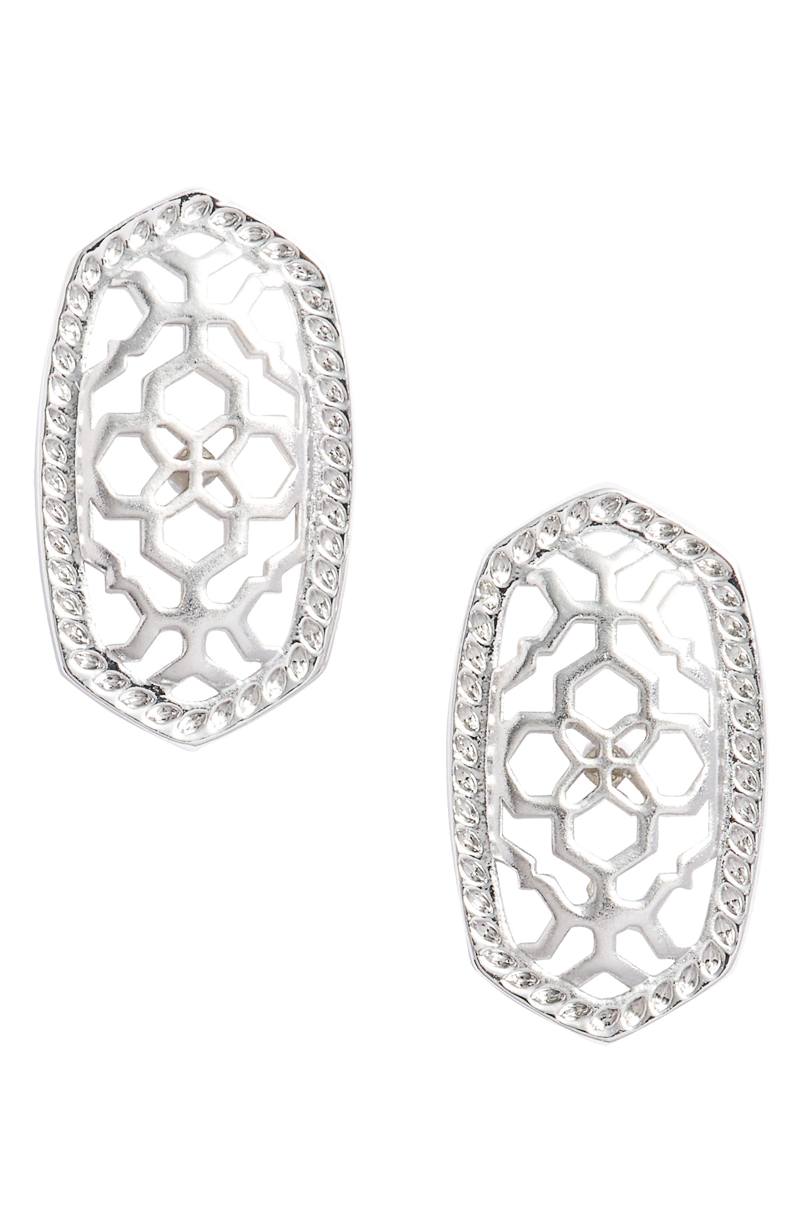Ellie Oval Stud Earrings,                             Main thumbnail 1, color,                             Silver