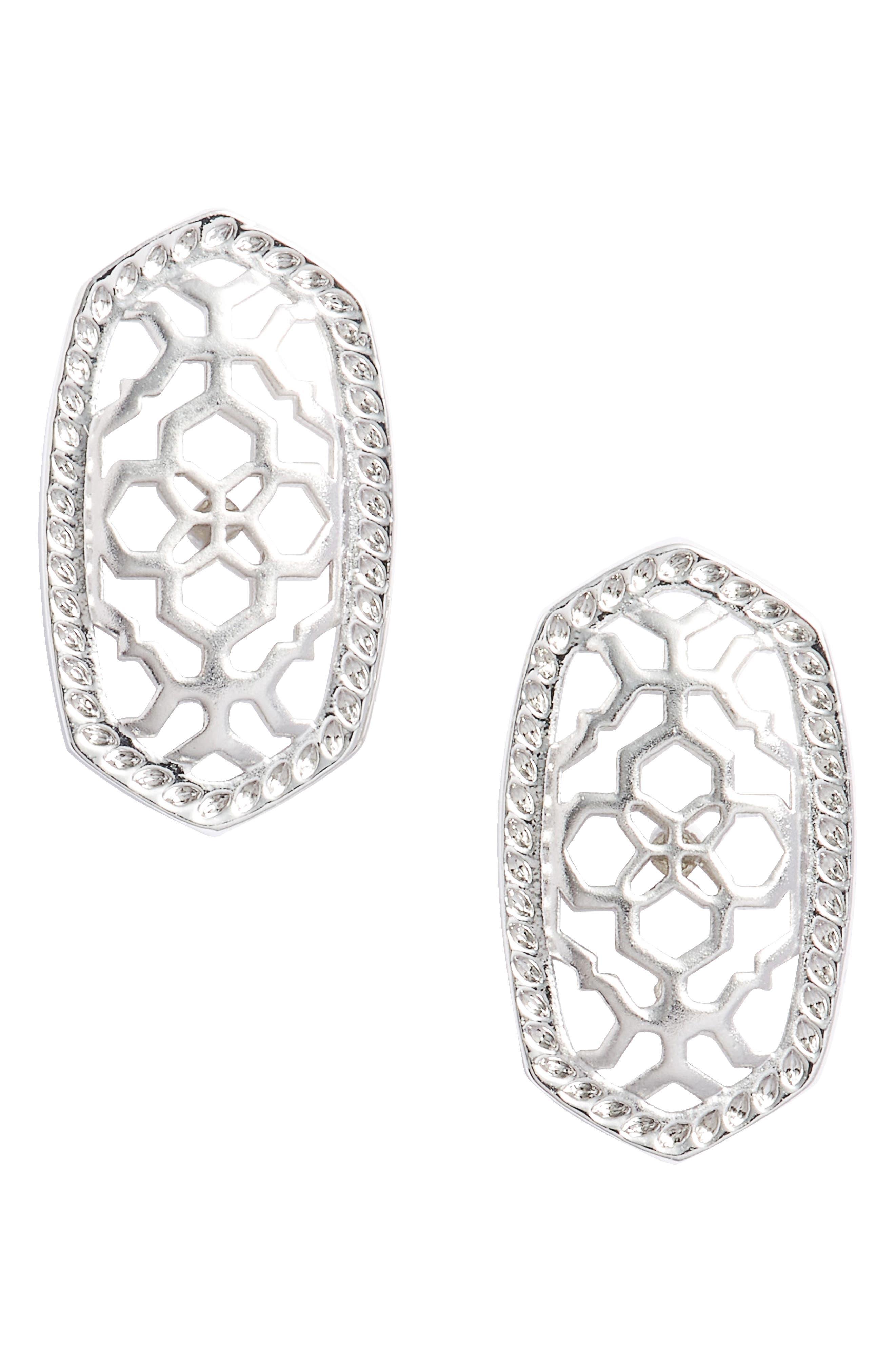 Ellie Oval Stud Earrings,                         Main,                         color, Silver