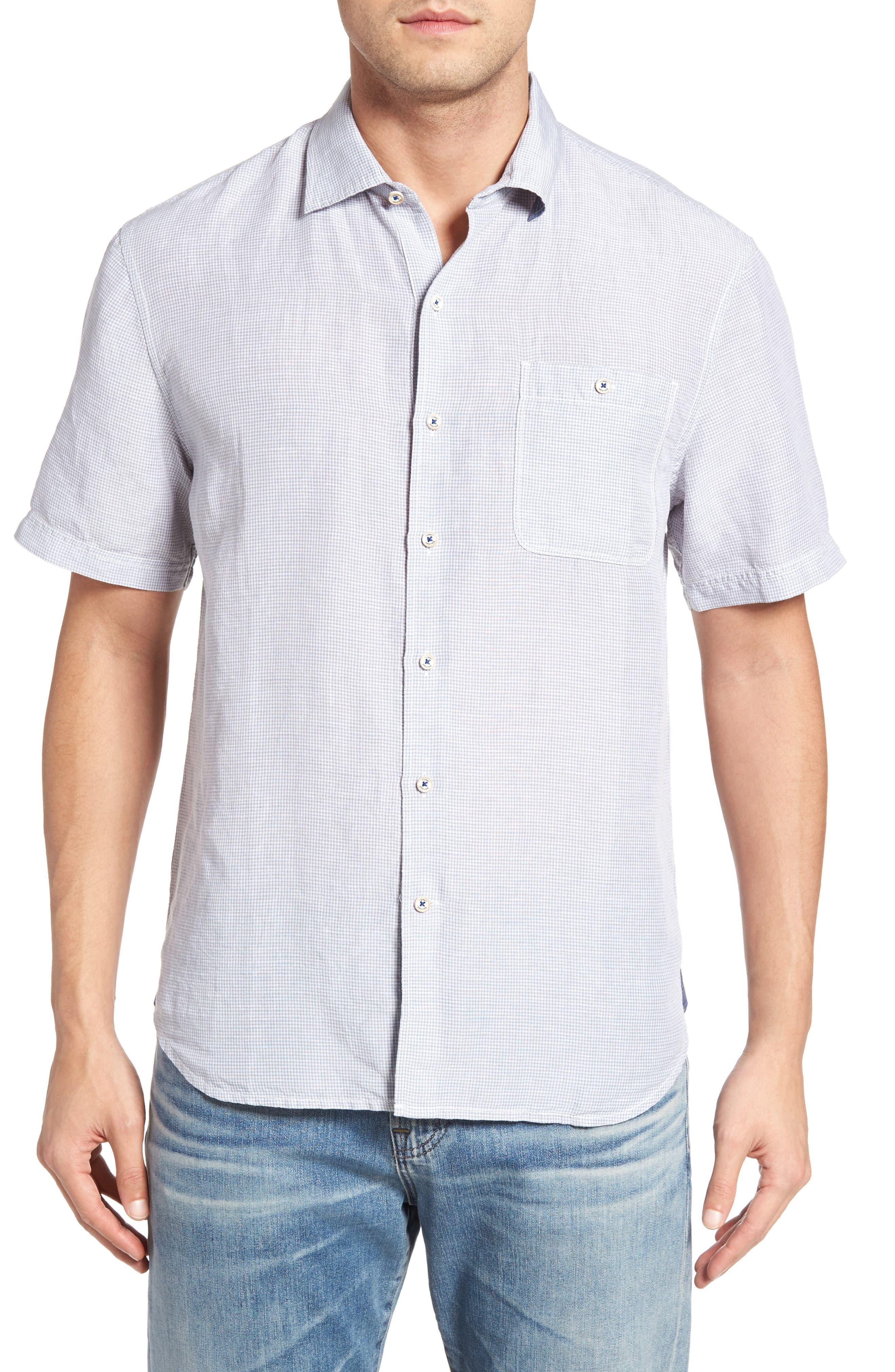 Tommy Bahama Sand Standard Fit Check Linen Blend Sport Shirt