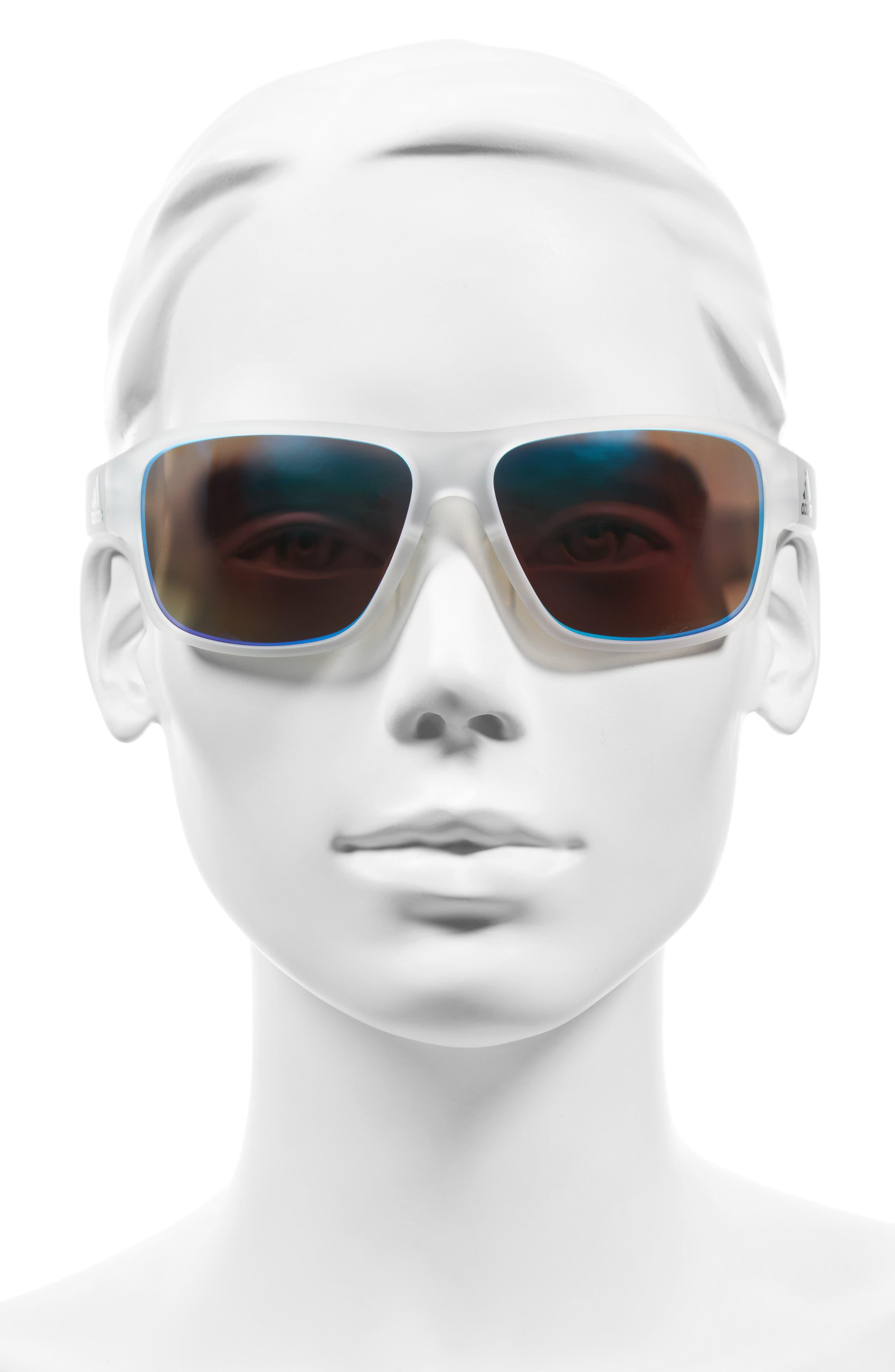 Jaysor 60mm Sunglasses,                             Alternate thumbnail 2, color,                             Crystal Clear/ Blue Mirror