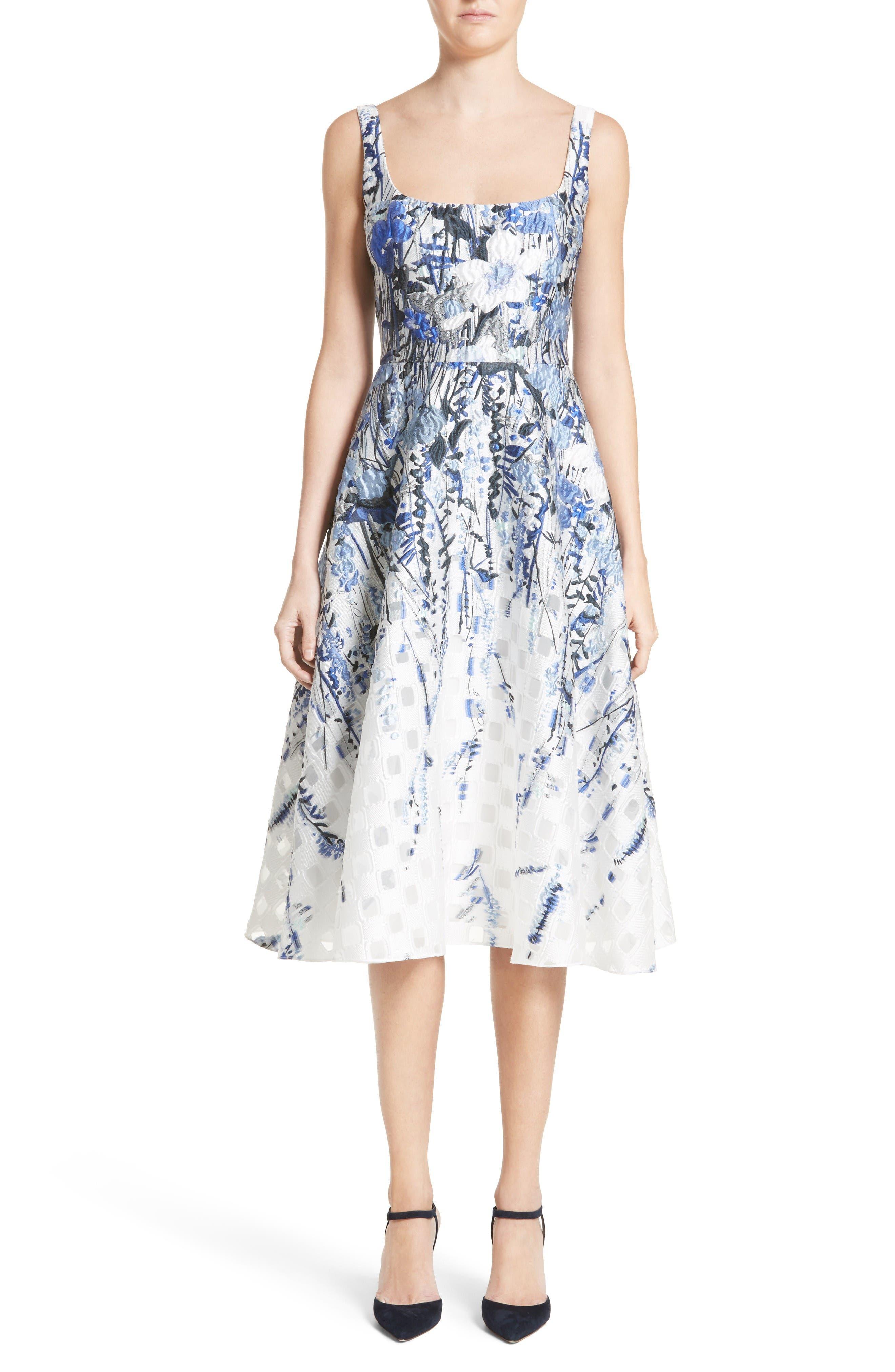 Alternate Image 1 Selected - Lela Rose Wildflower Fil Coupé Dress