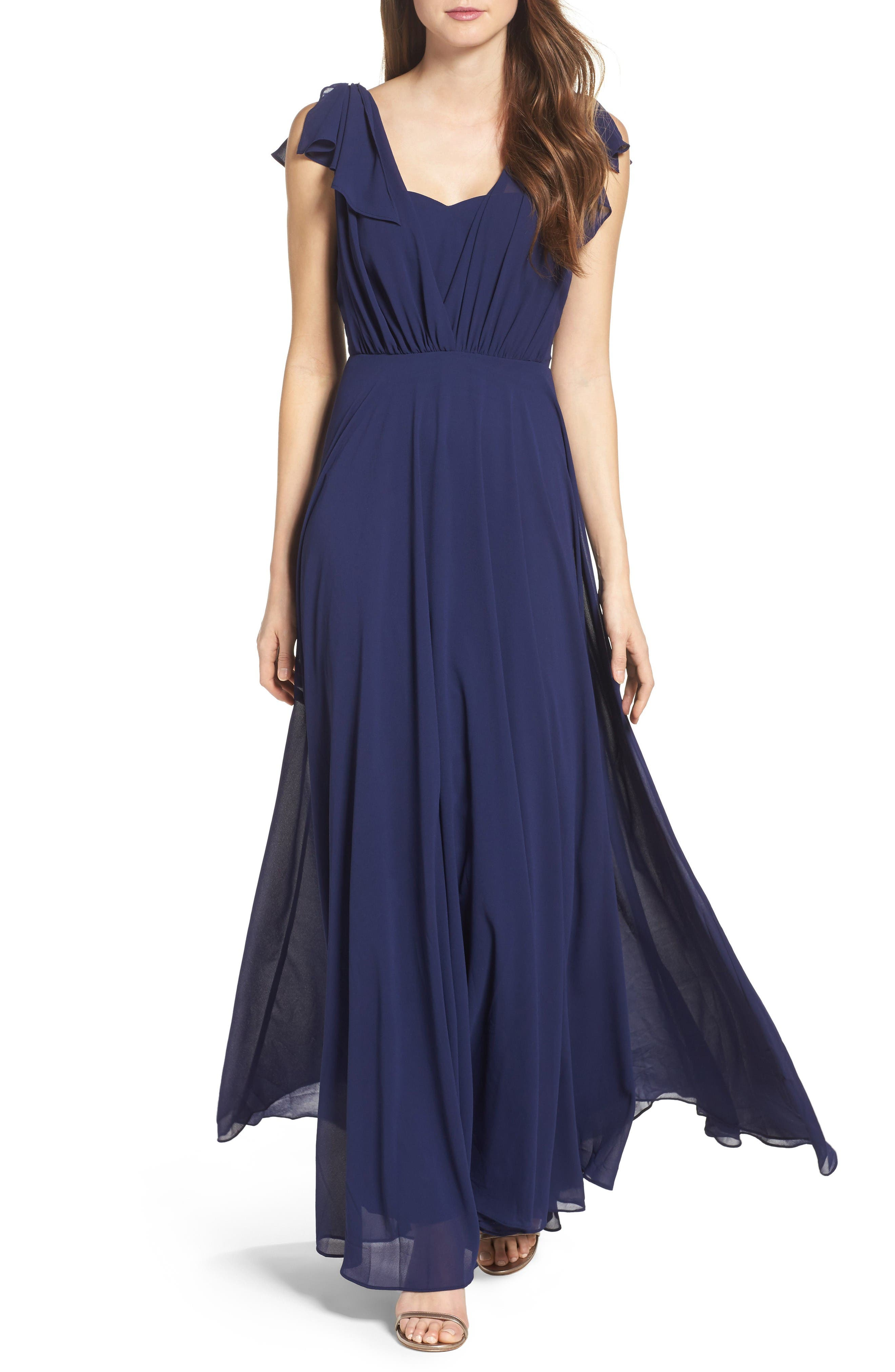 Flutter Sleeve Chiffon Gown,                             Main thumbnail 1, color,                             Navy