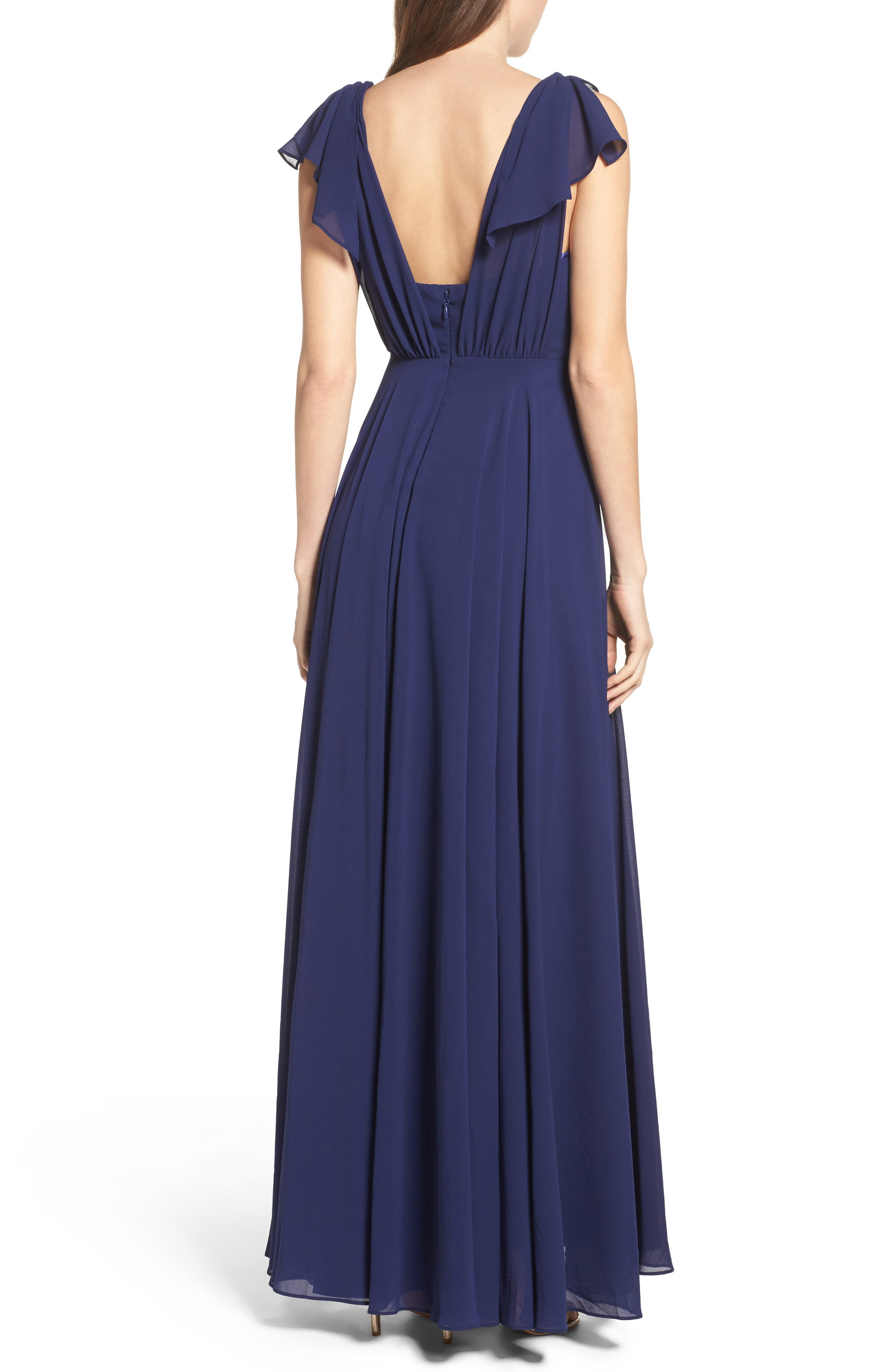 Flutter Sleeve Chiffon Gown,                             Alternate thumbnail 2, color,                             Navy