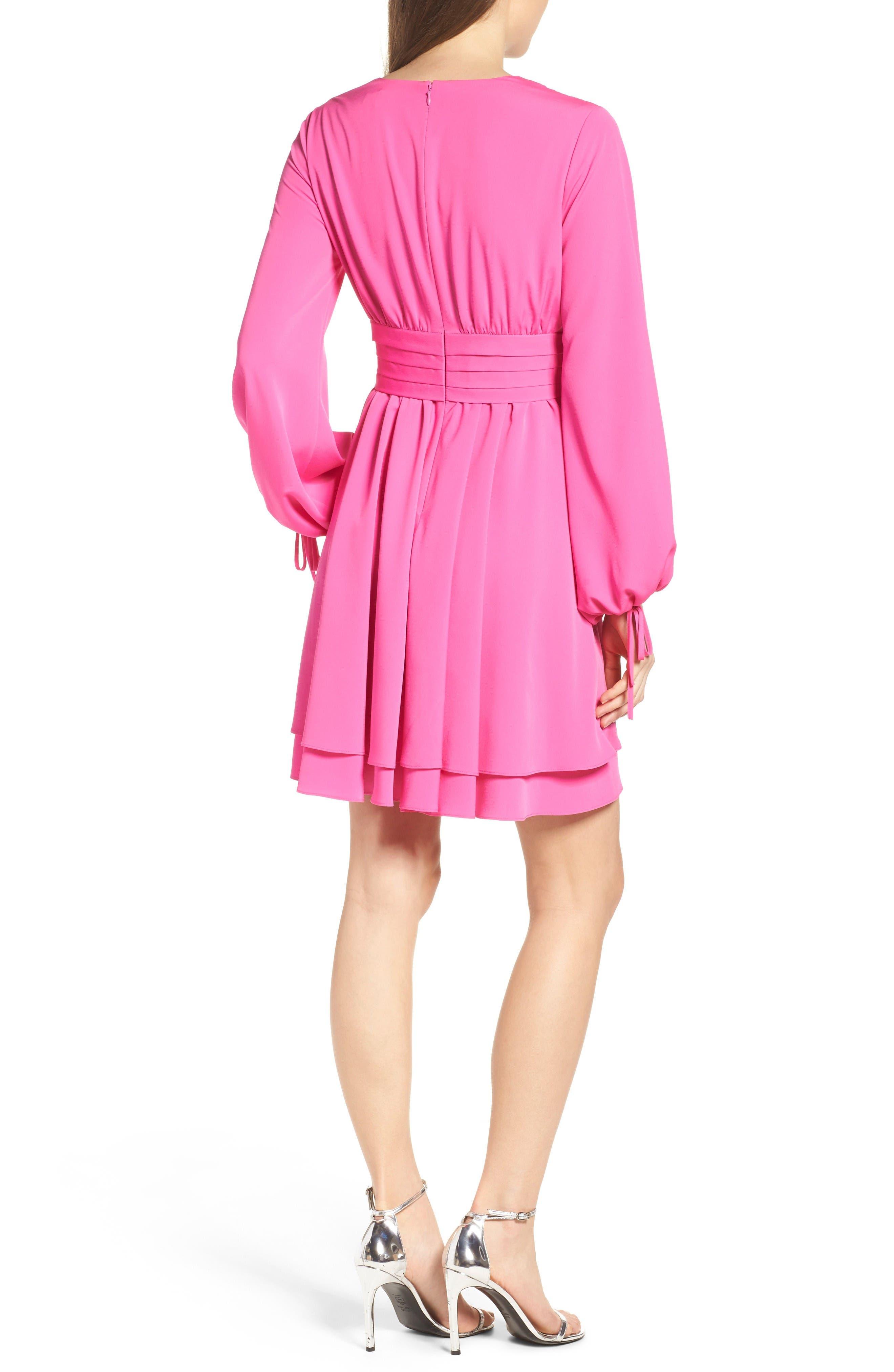Tie Sleeve Fit & Flare Dress,                             Alternate thumbnail 2, color,                             Fuchsia