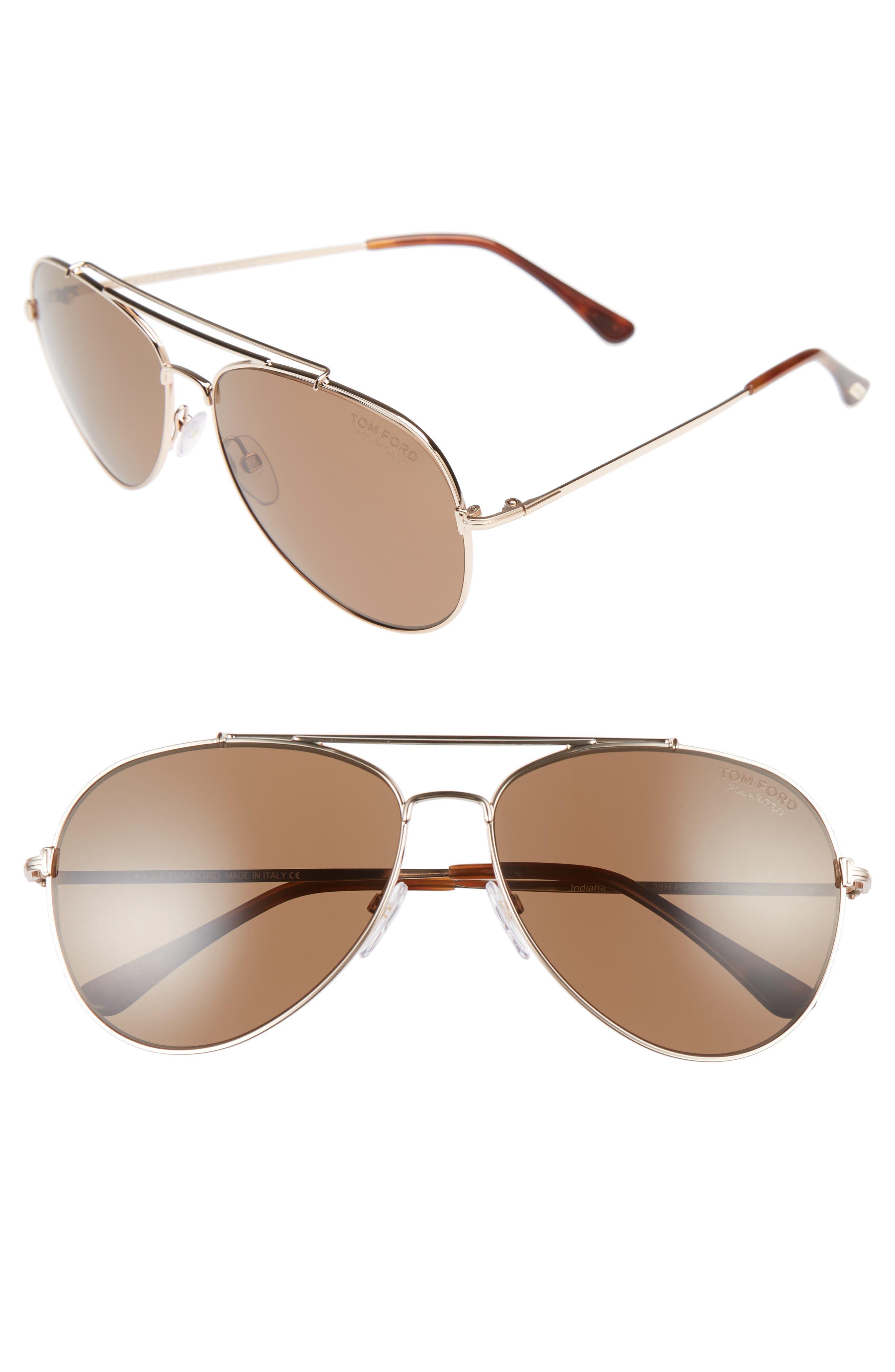 Indiana 60mm Polarized Aviator Sunglasses,                         Main,                         color, Shiny Rose Gold/ Light Brown