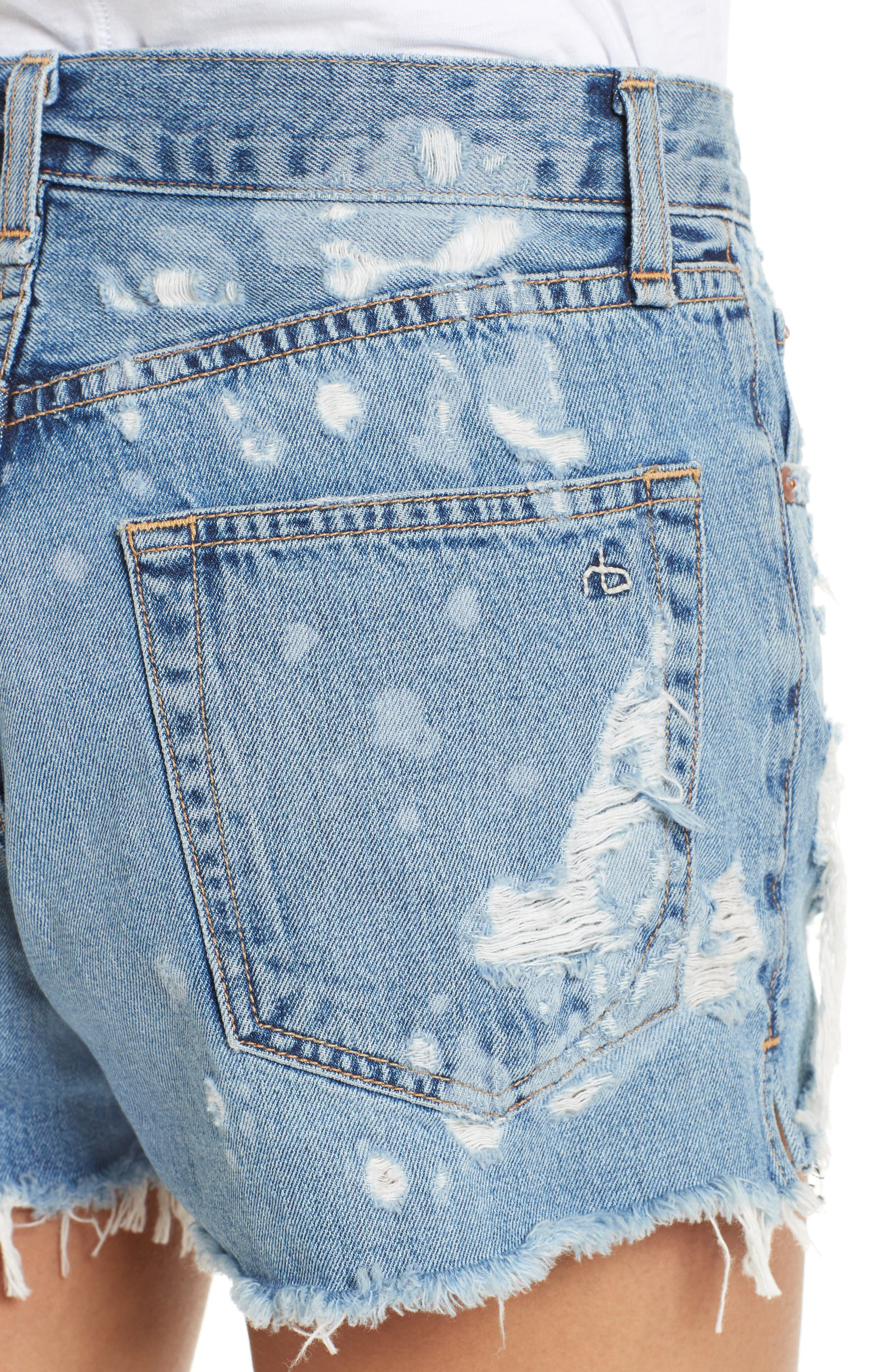 Justine High Waist Cutoff Denim Shorts,                             Alternate thumbnail 4, color,                             Brokenland