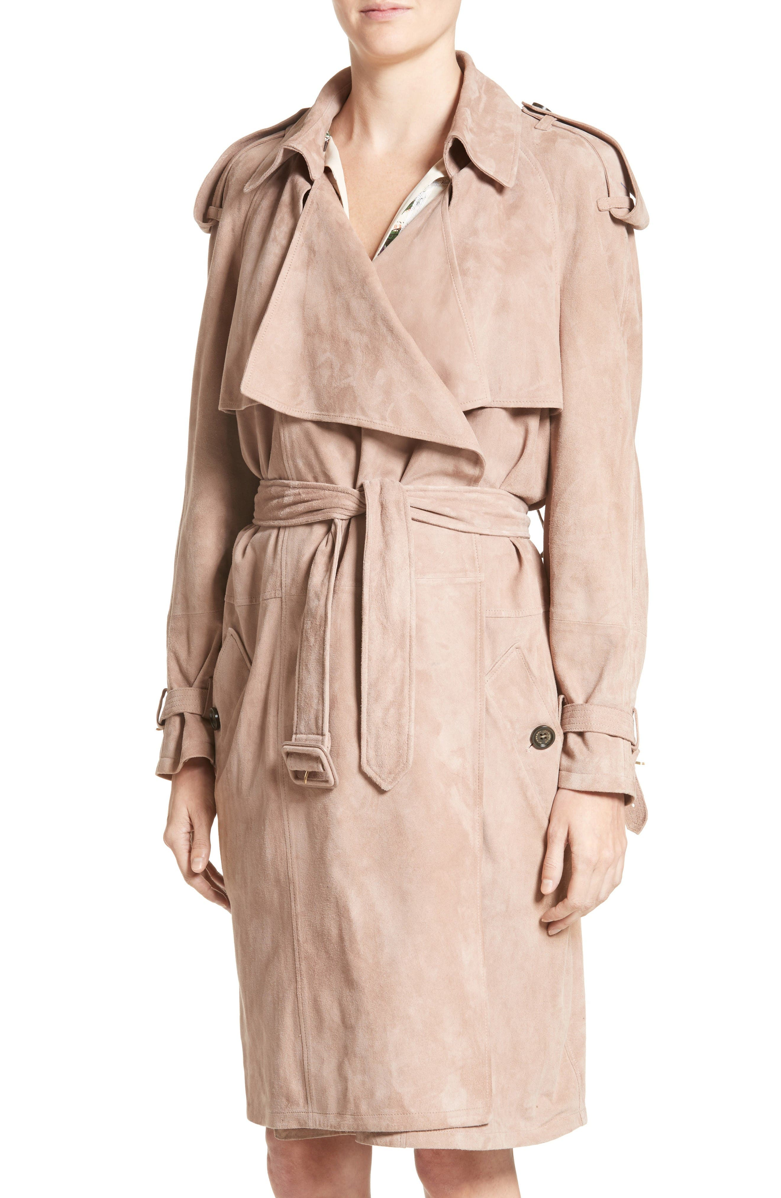 Alternate Image 6  - Burberry Sanbridges Suede Wrap Trench