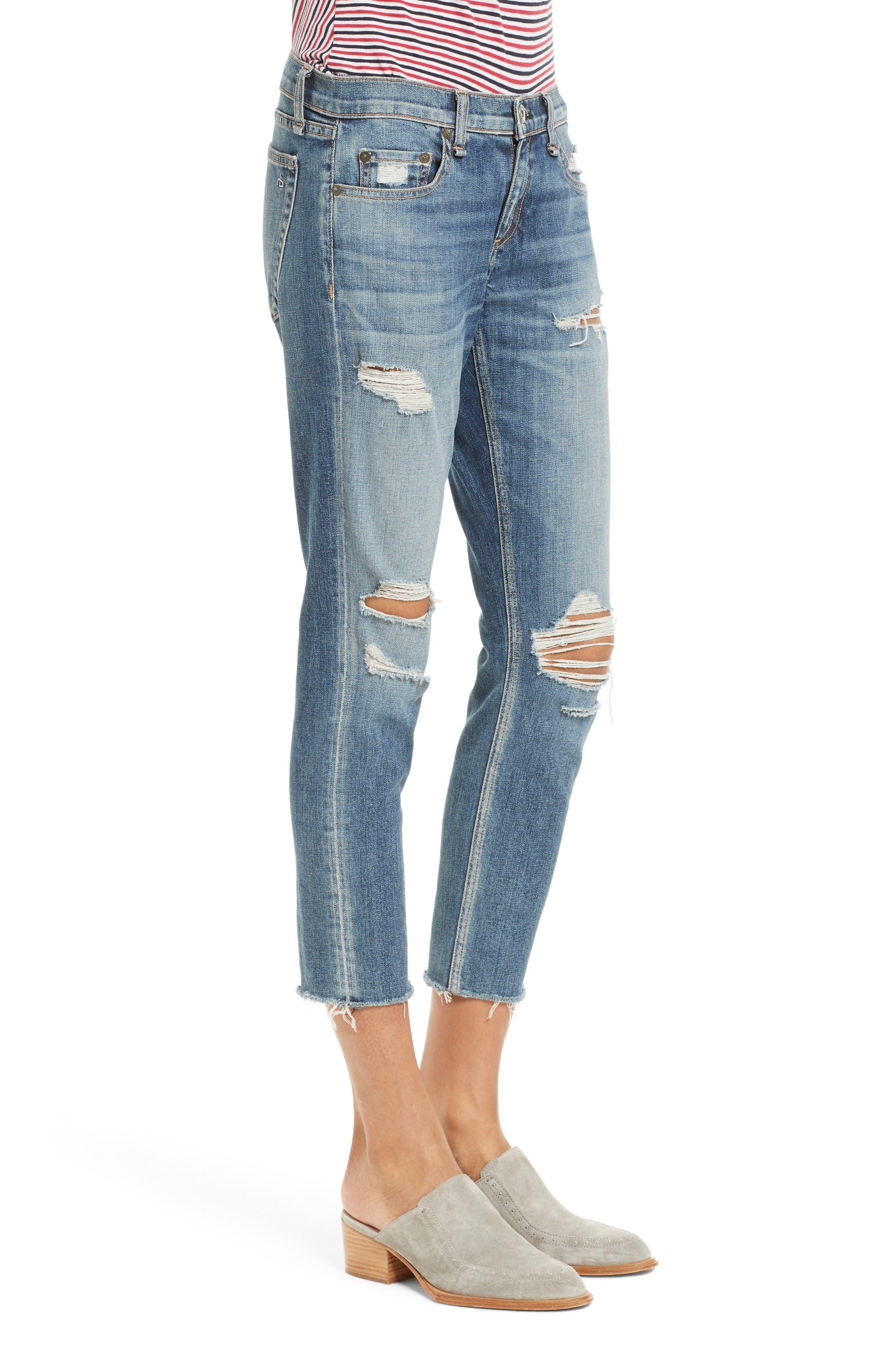 Alternate Image 3  - rag & bone/JEAN The Dre Capri Slim Boyfriend Jeans (Delamo)