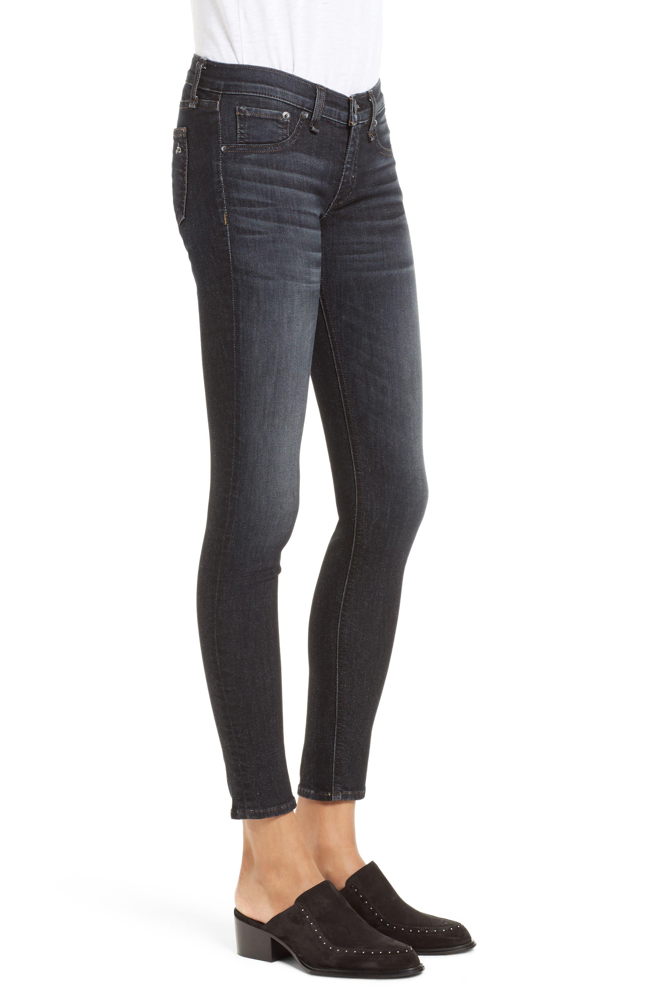 Alternate Image 3  - rag & bone/JEAN Skinny Jeans (Black Rae)