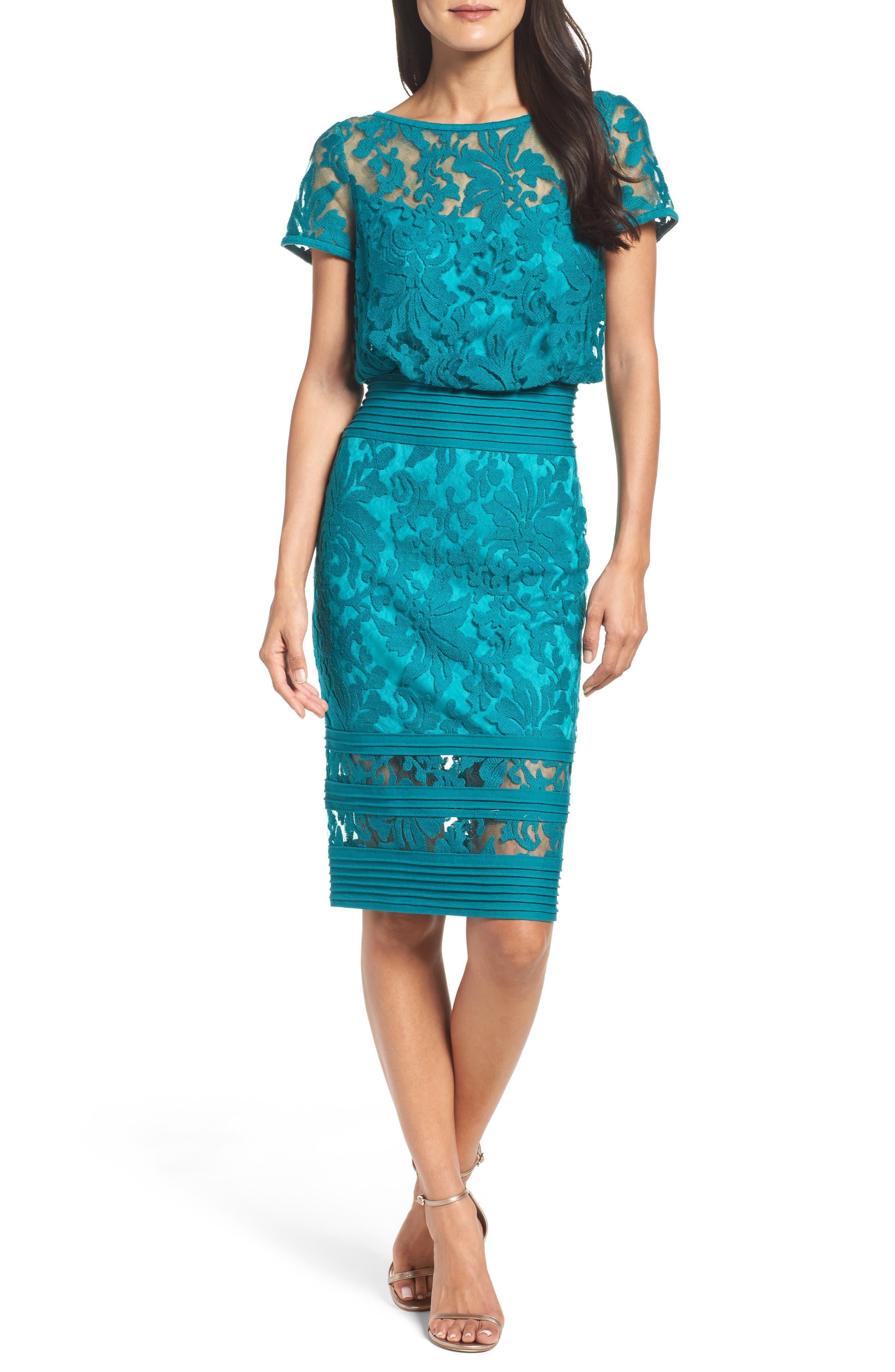 Embroidered Blouson Sheath Dress,                             Alternate thumbnail 4, color,                             Aqua Blue