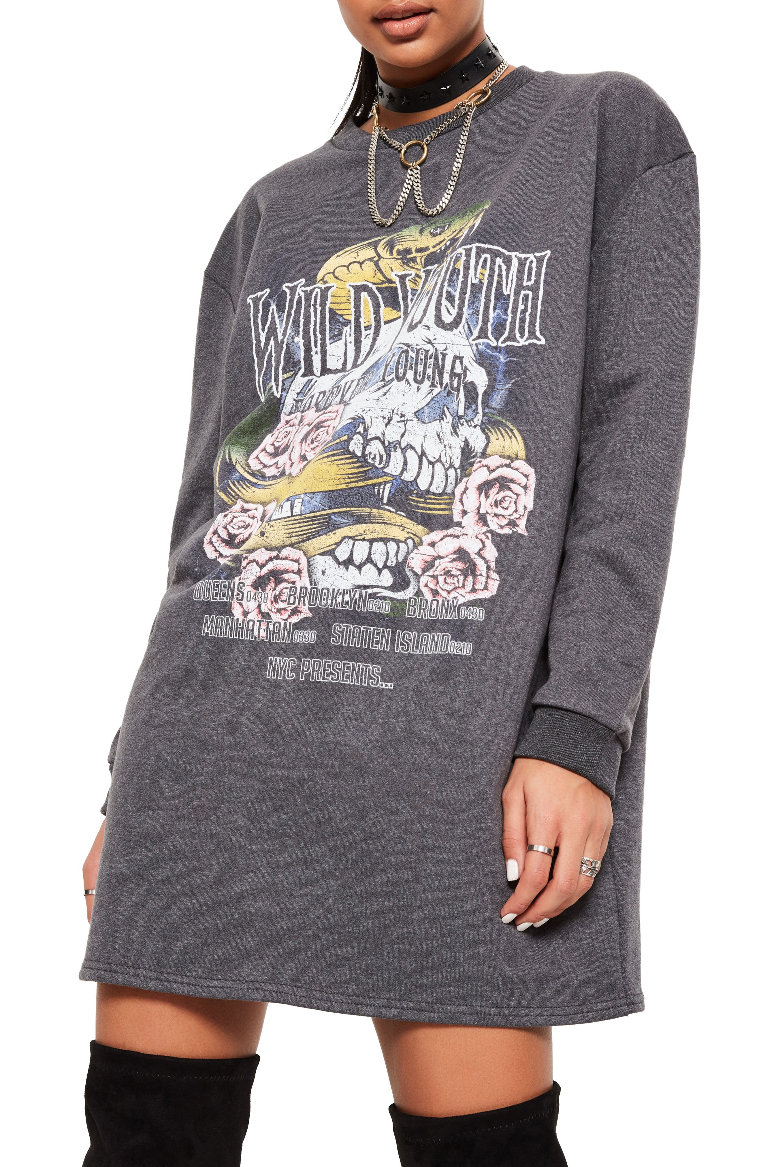 Alternate Image 3  - Missguided Wild Youth Graphic Knit Dress