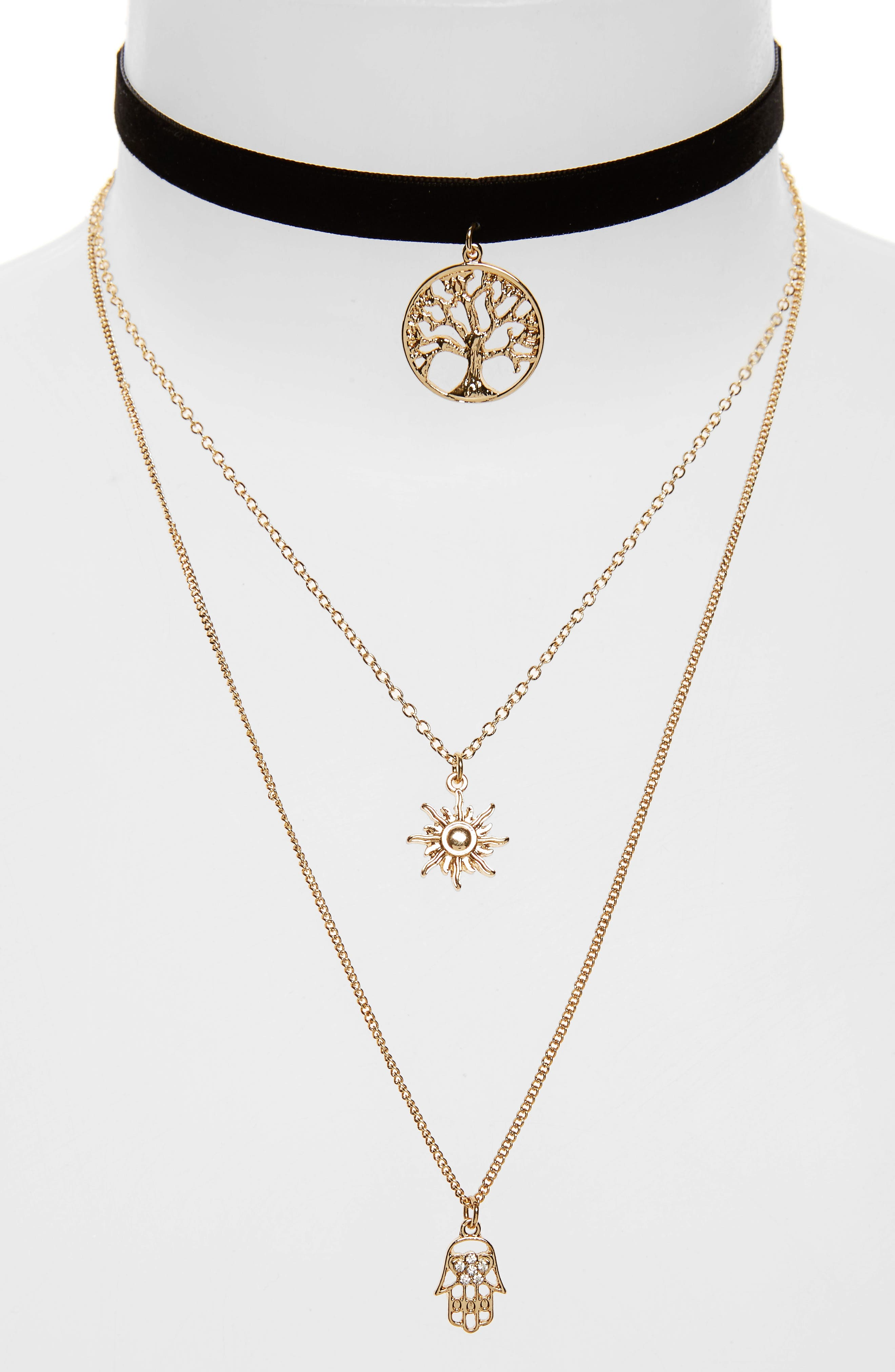 Main Image - Topshop Tree of Life Layer Necklace