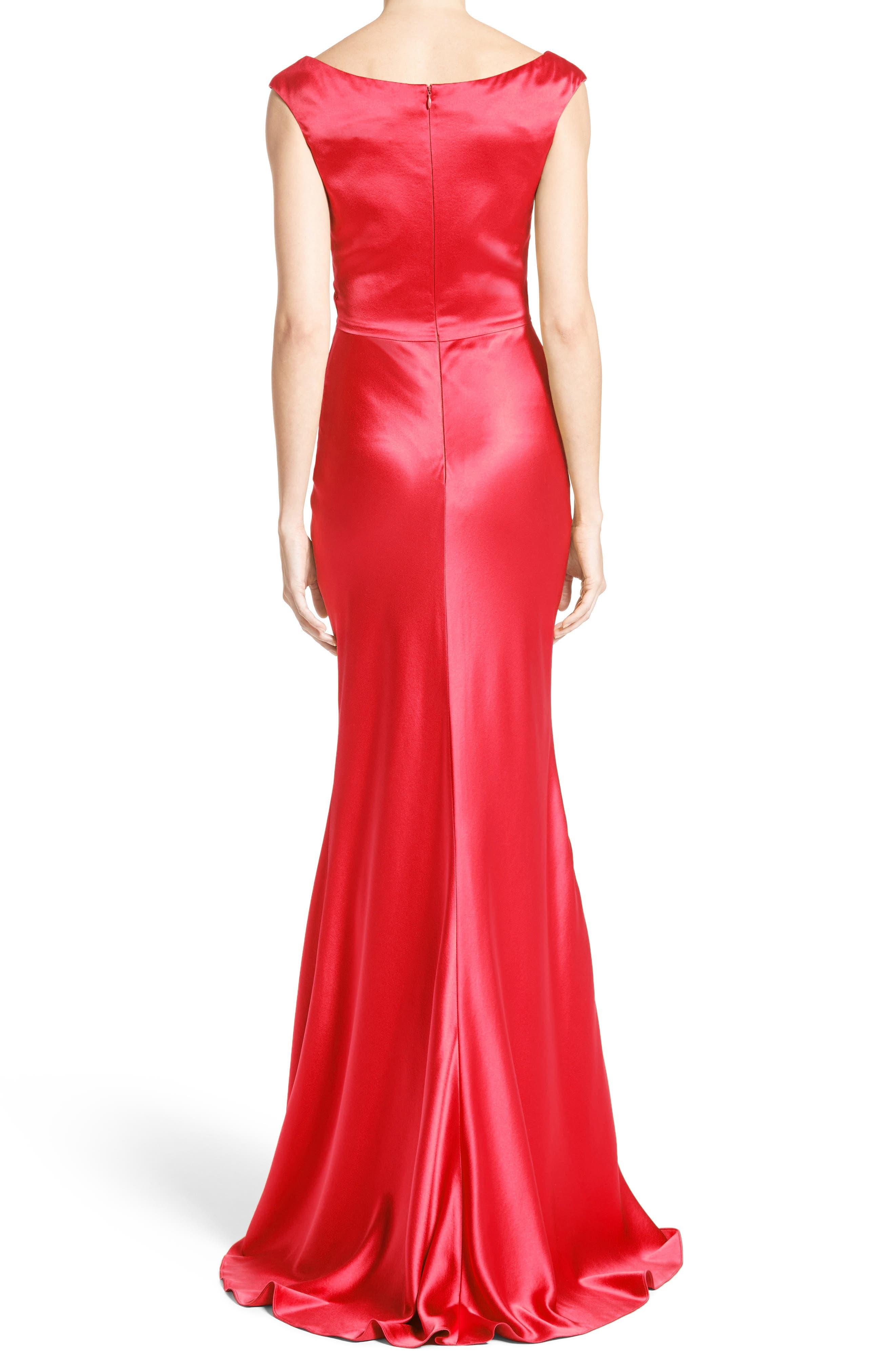 Alternate Image 2  - Carolina Herrera Silk Satin Gown (Nordstrom Exclusive)
