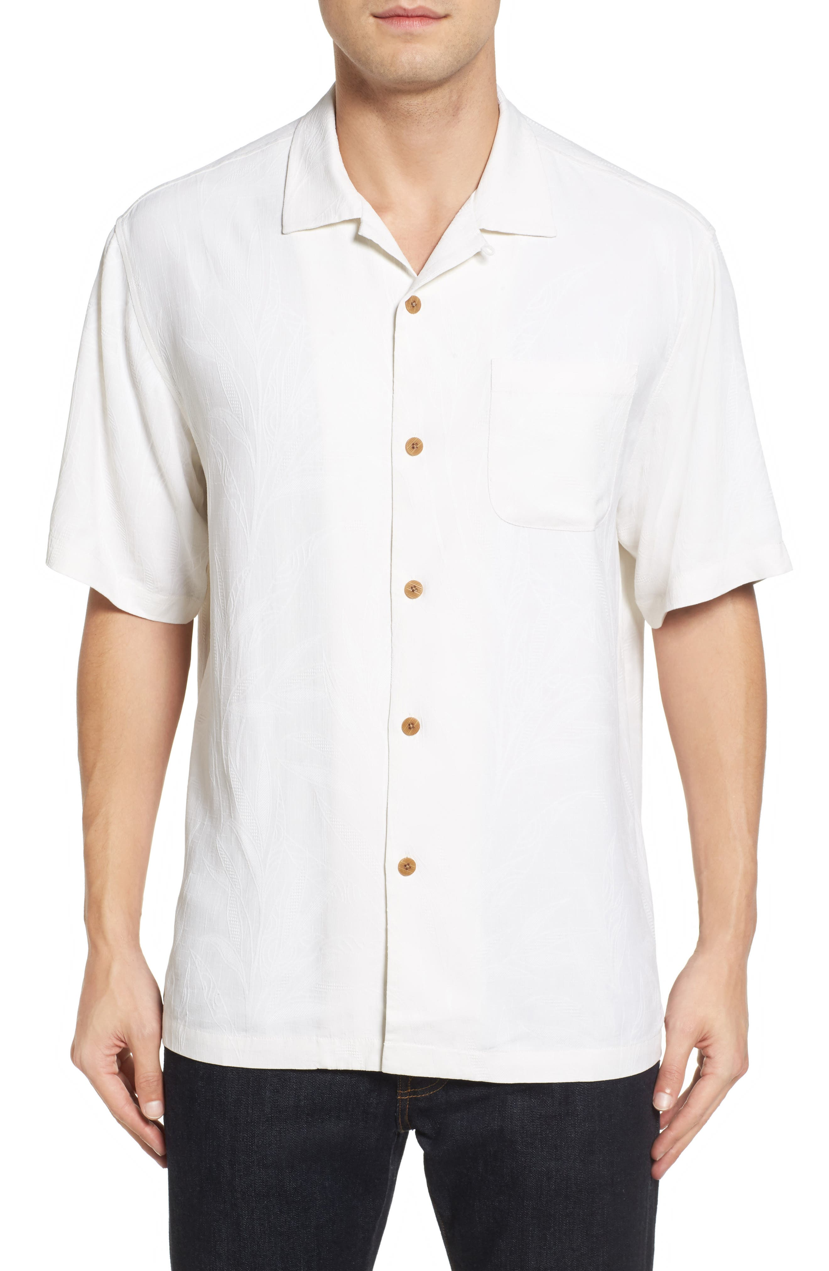 Islander Fronds Silk Camp Shirt,                         Main,                         color, Continental