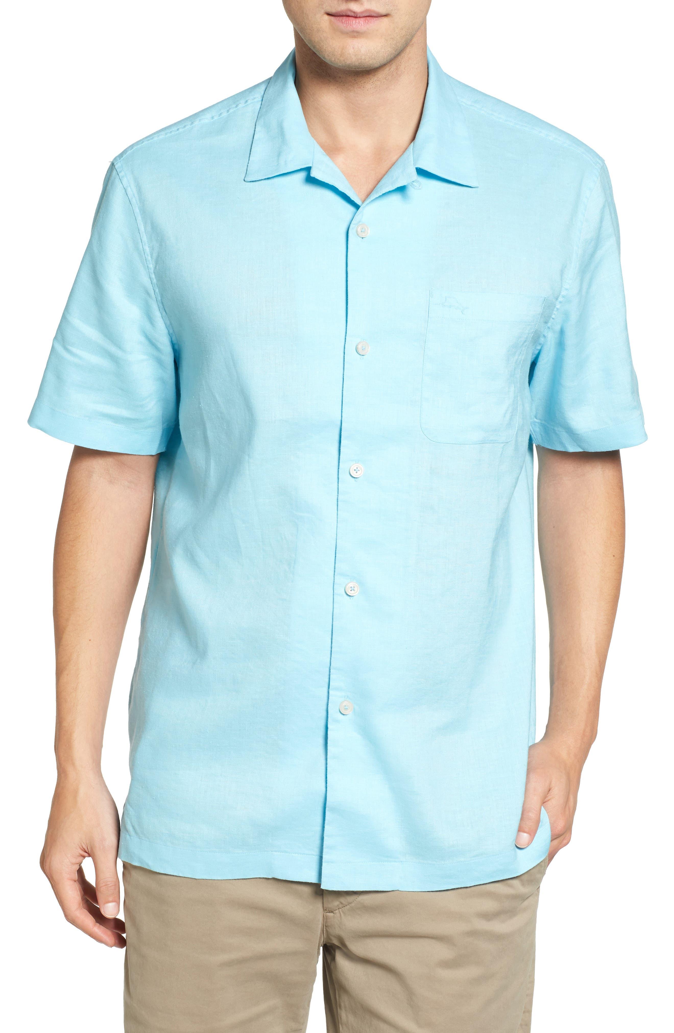 Monaco Tides Standard Fit Linen Blend Camp Shirt,                             Main thumbnail 1, color,                             Graceful Sea