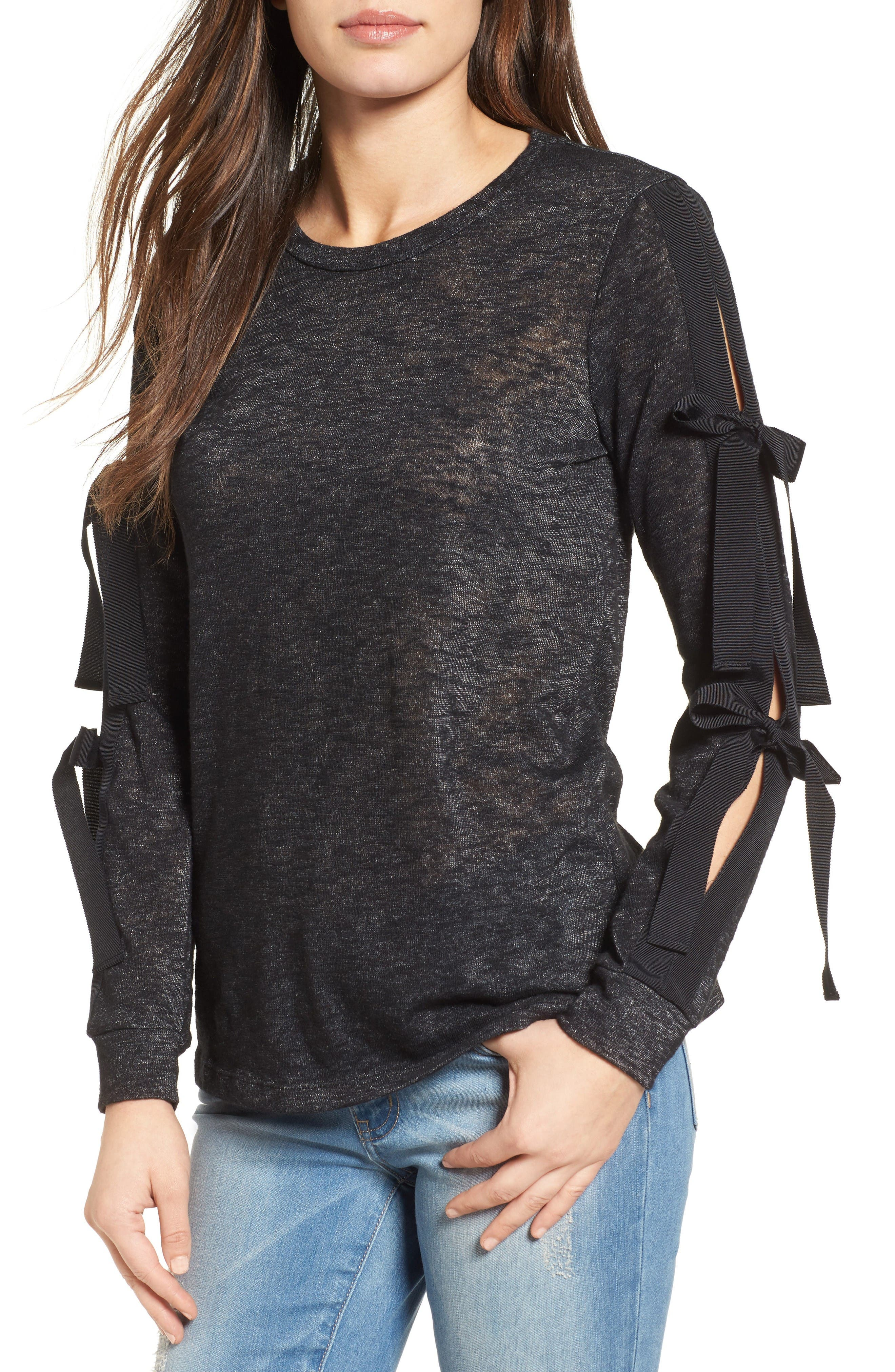Alternate Image 1 Selected - Pleione Ribbon Tie Sleeve Knit Top (Regular & Petite)