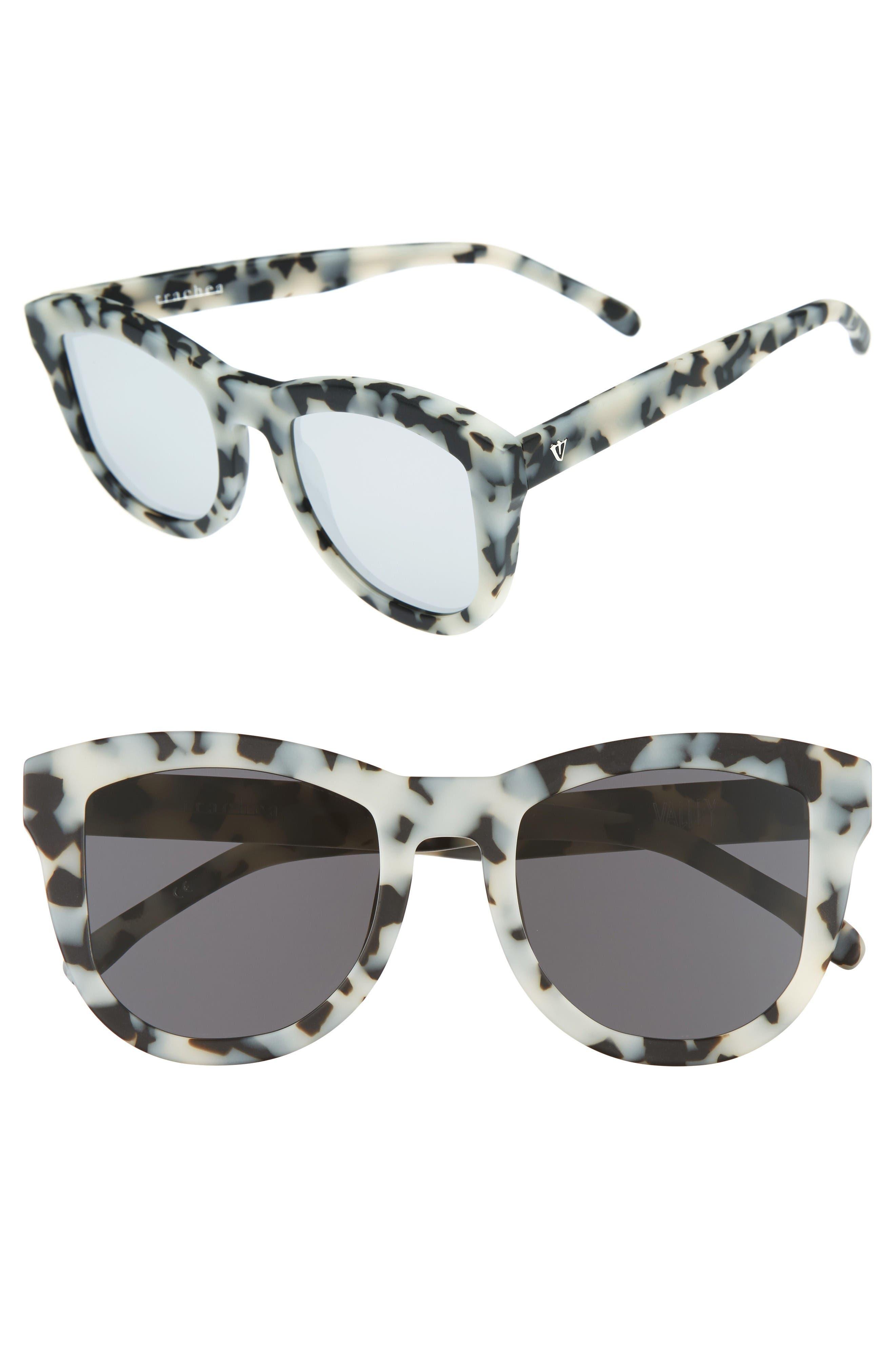 50mm Trachea Retro Sunglasses,                         Main,                         color, Matte Snow Leopard/ Silver