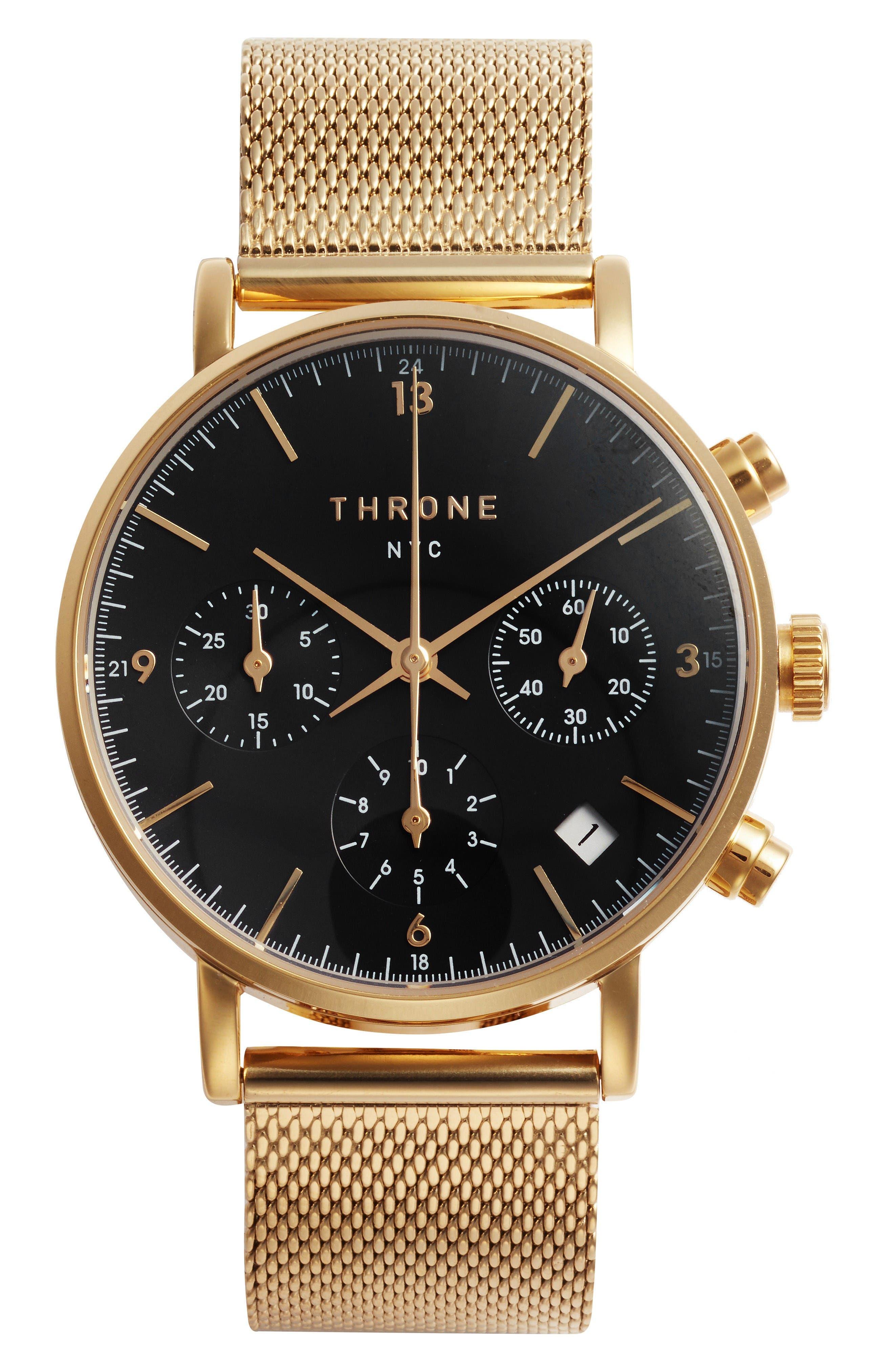 2.0 Chronograph Mesh Strap Watch, 40mm,                             Main thumbnail 1, color,                             Gold/ Black