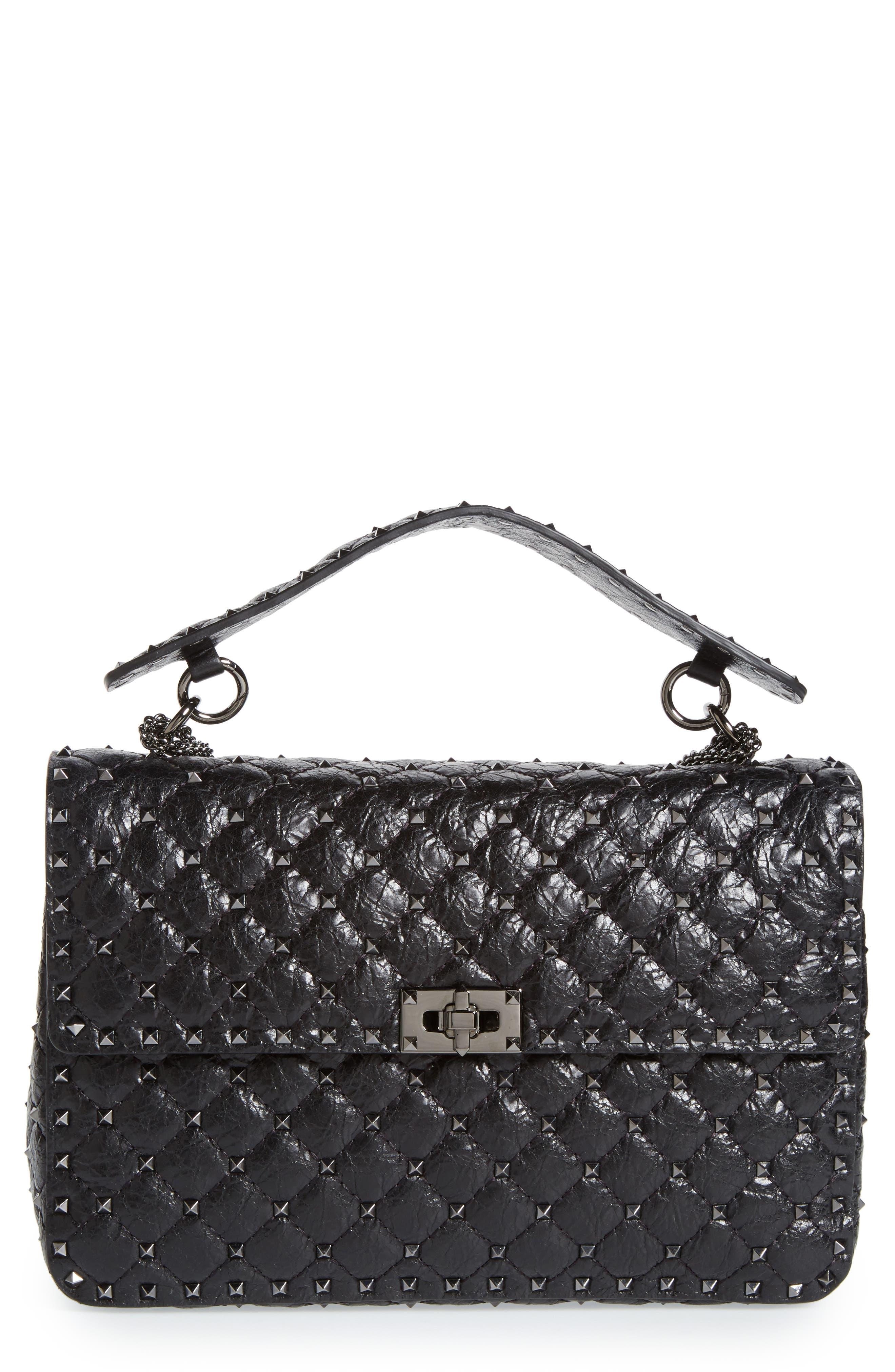 Rockstud Spike Large Shoulder Bag,                         Main,                         color, Black